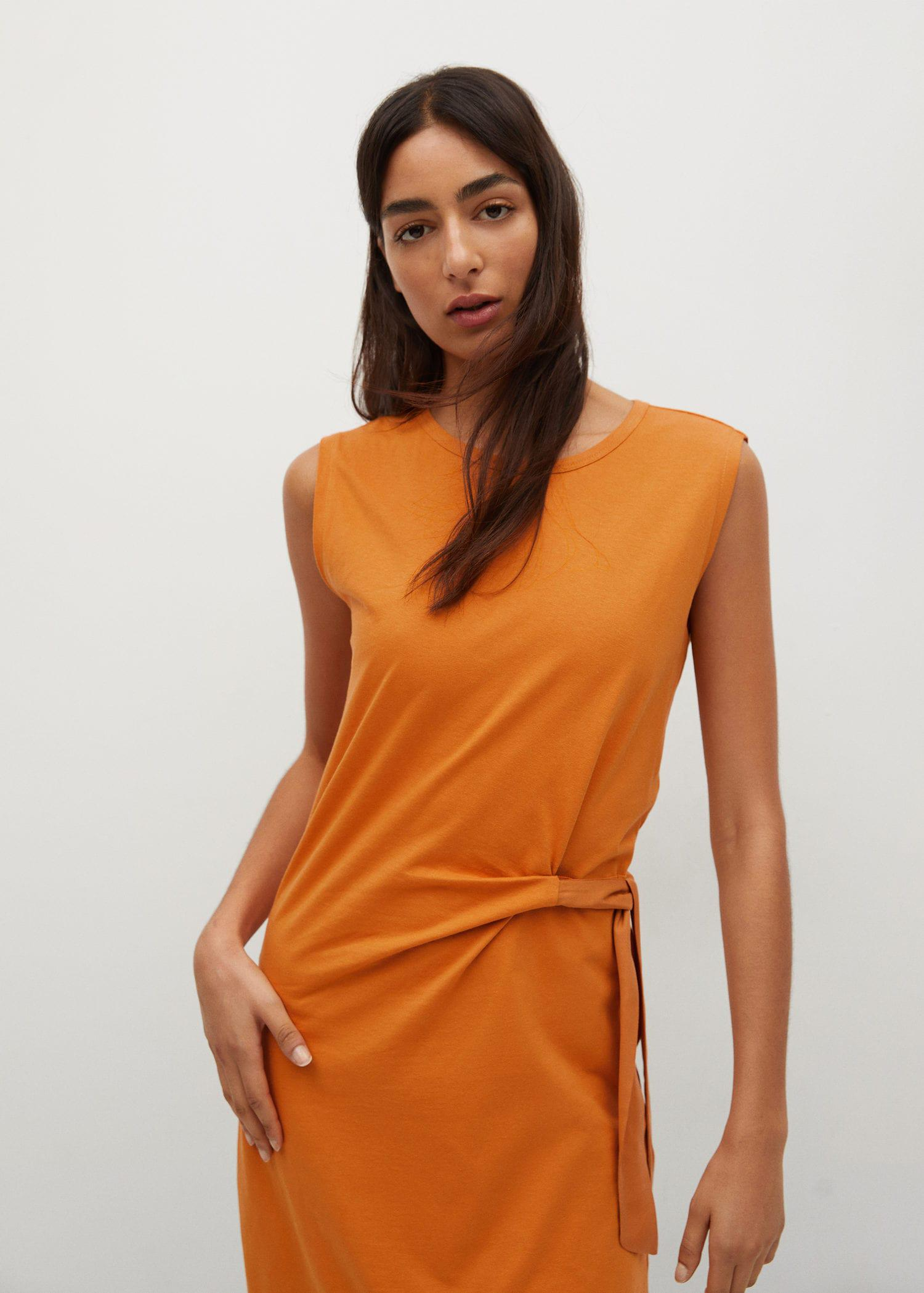 Knotted cotton dress 0