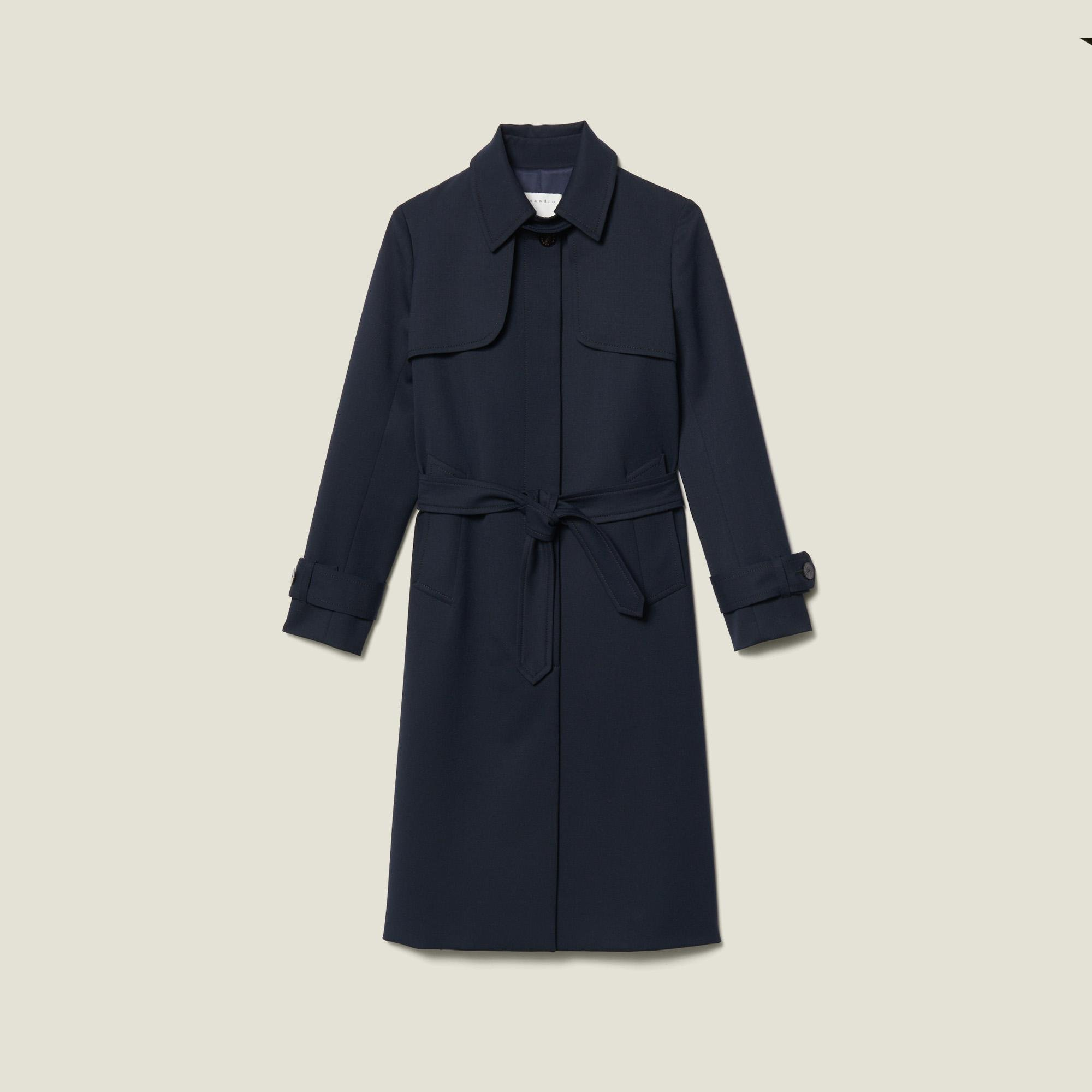 Trench coat with pleated inset