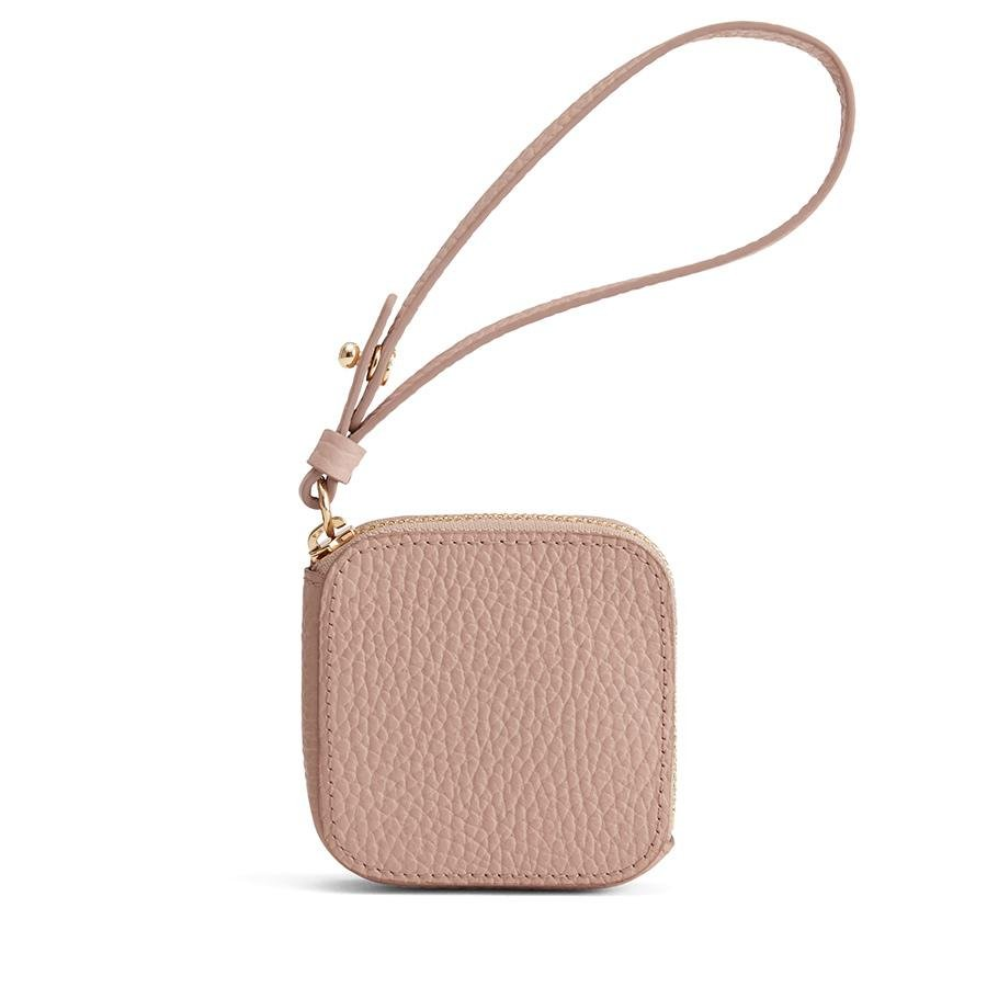 Women's Leather Airpod Case in Soft Rose | Pebbled Leather by Cuyana