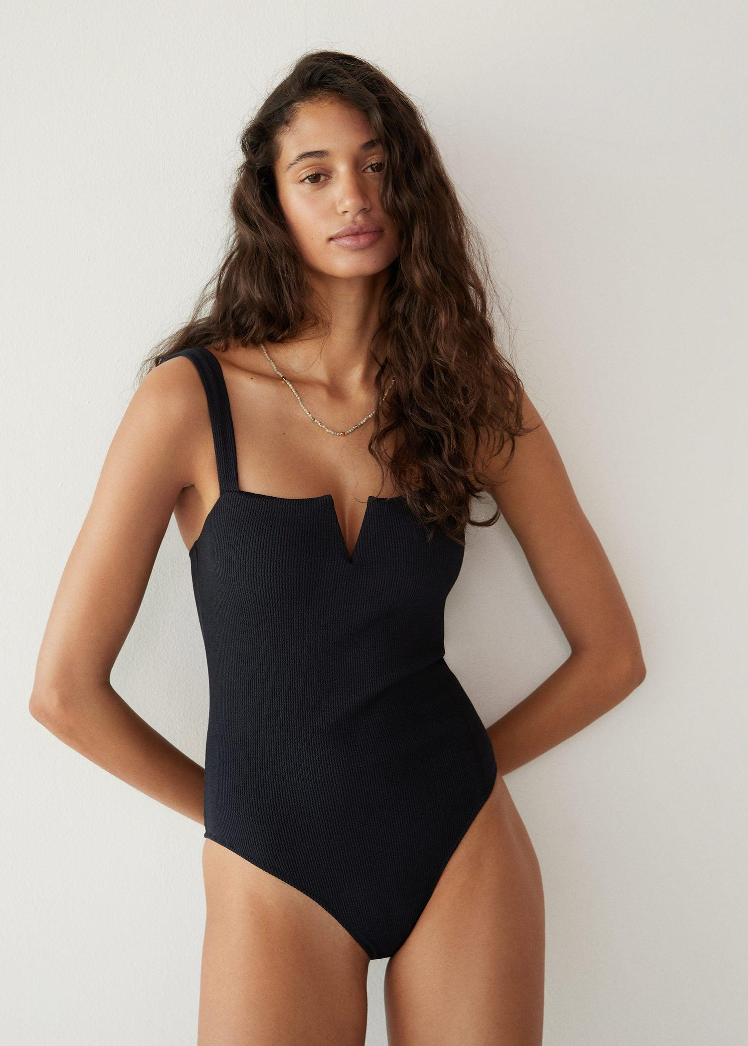 Cut-out textured swimsuit