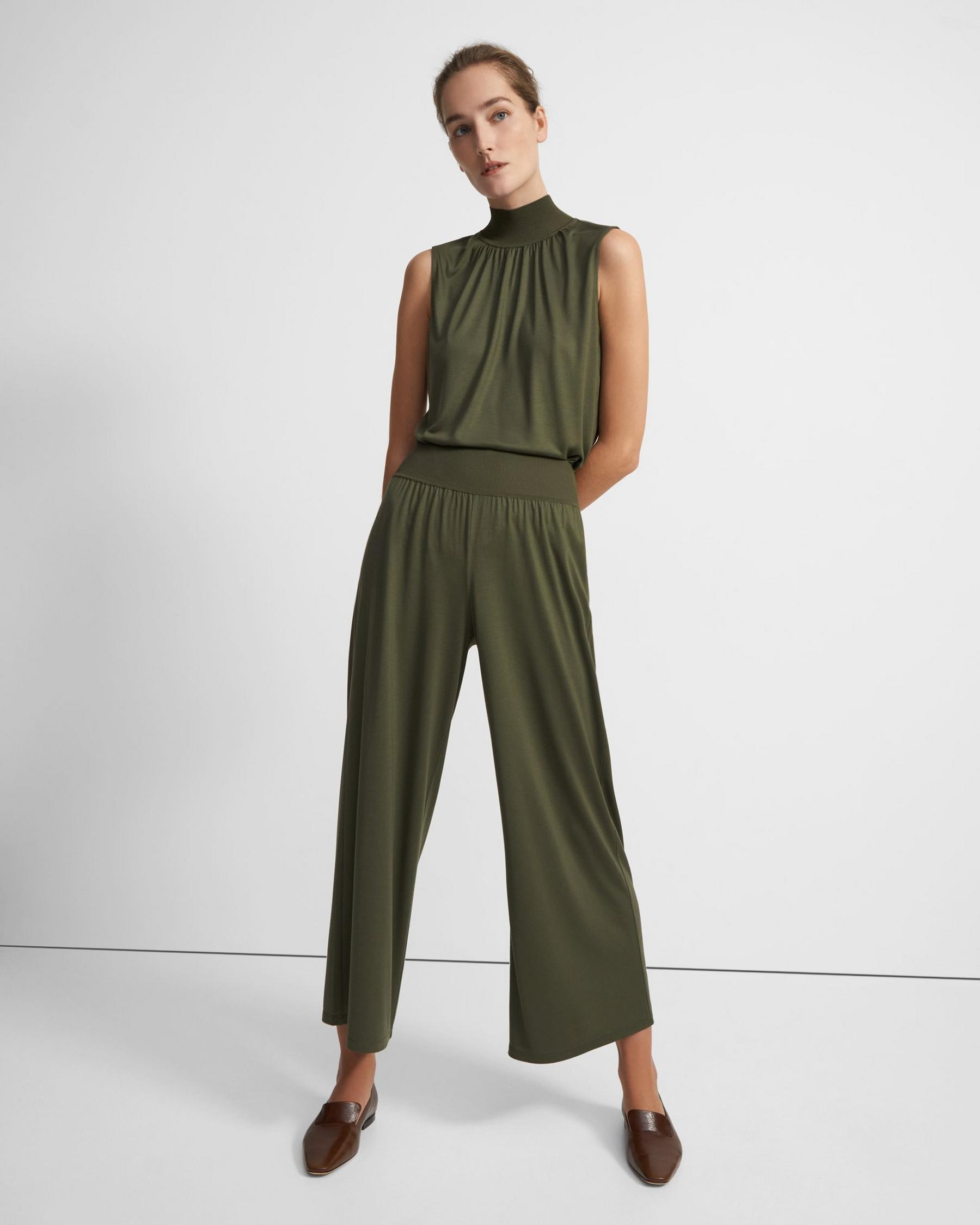 Ribbed Waist Pant in Silk Jersey 3