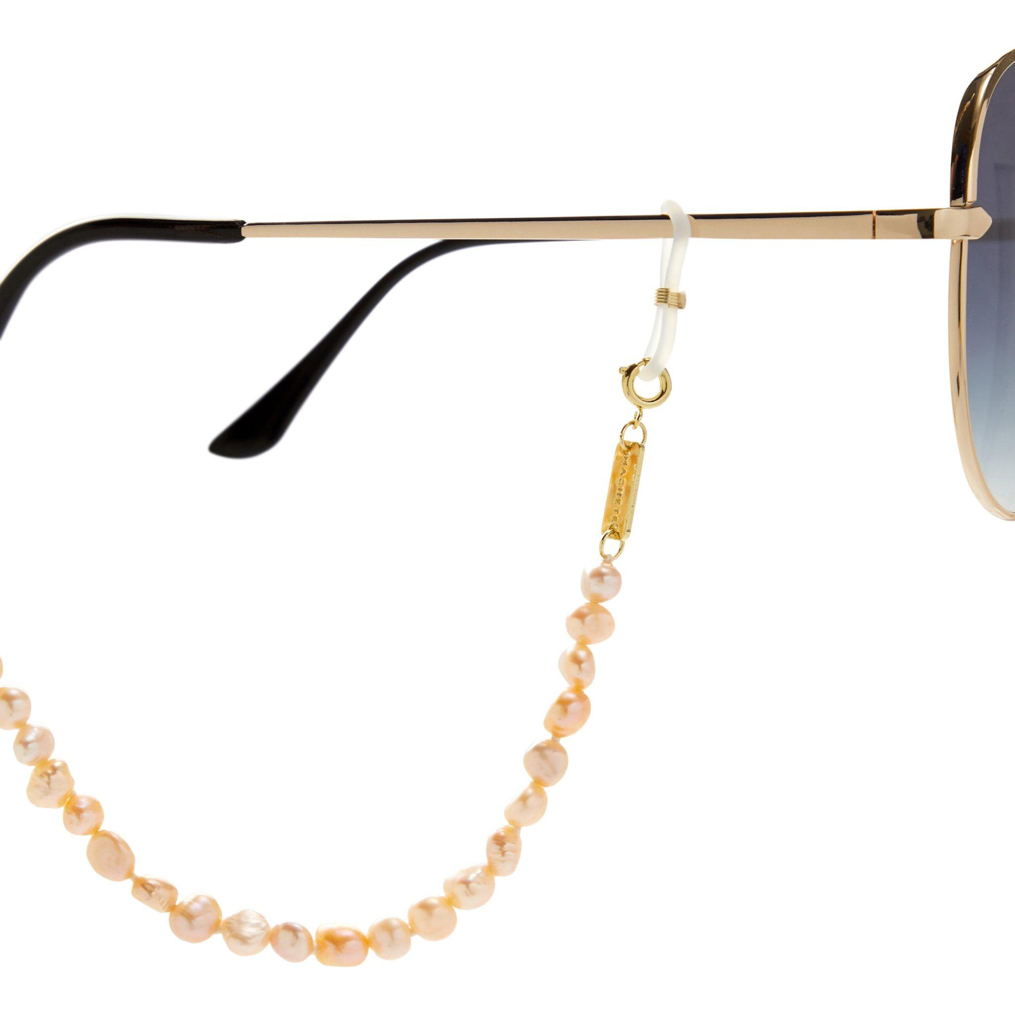 Mixed Freshwater Pearl Sunglas/Mask Chain in Yellow + Pink 1