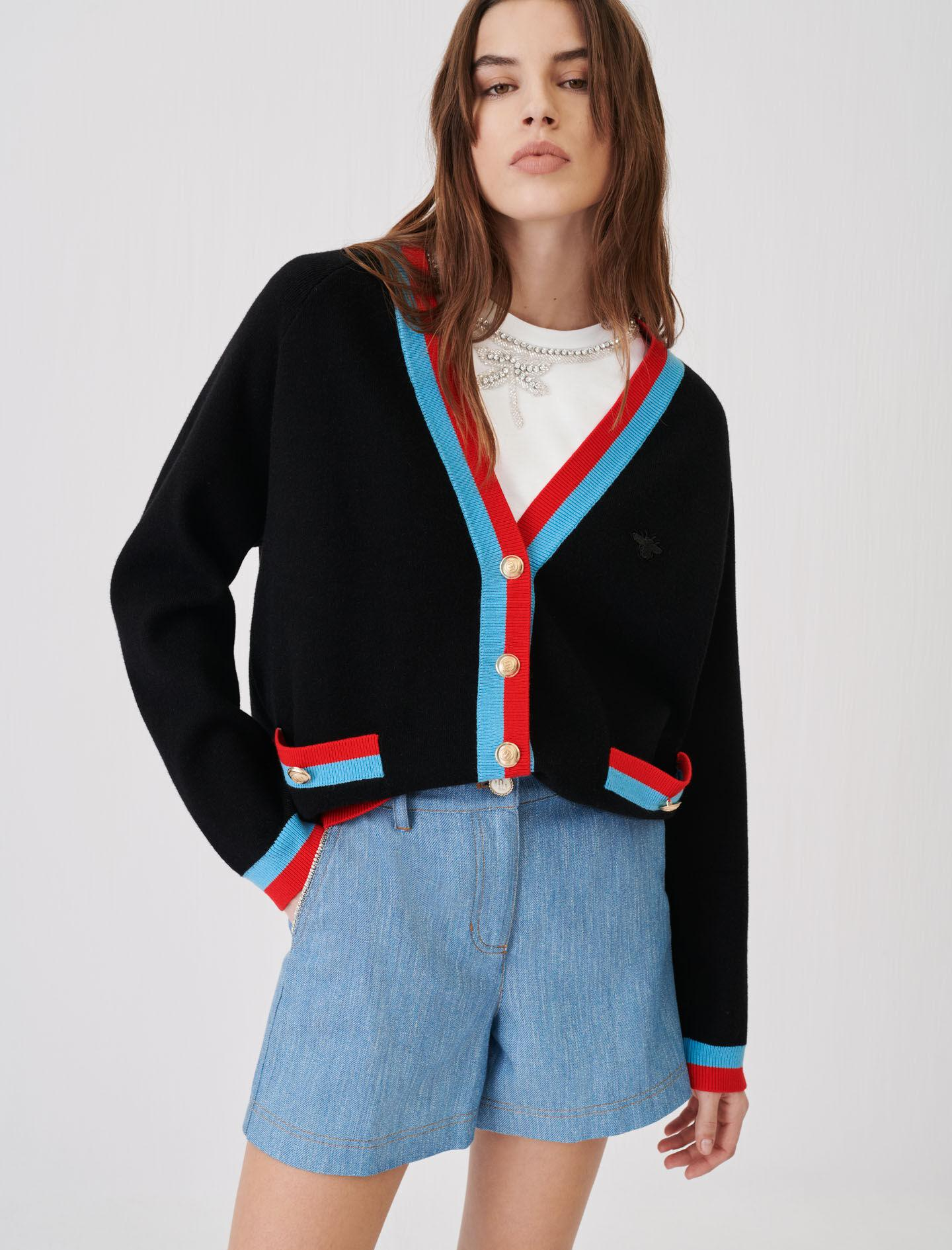 CARDIGAN WITH CONTRASTING BANDS