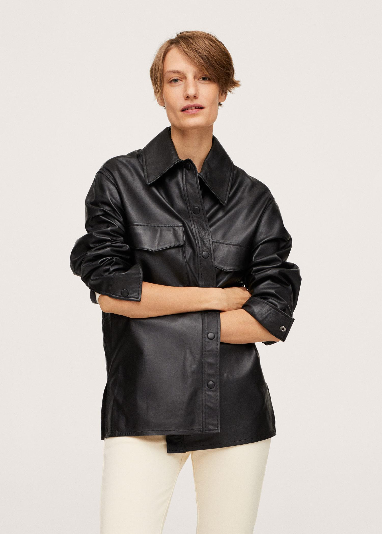Leather overshirt with pockets