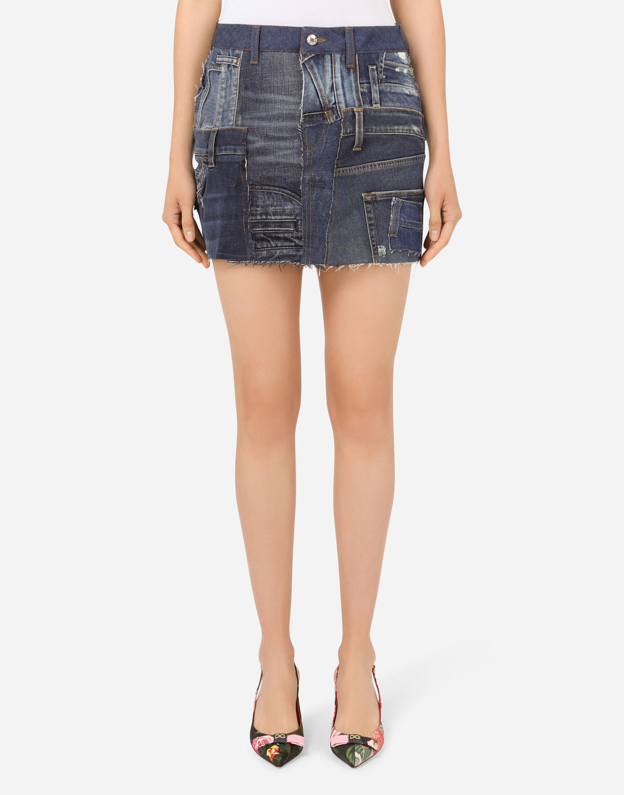 Patchwork denim miniskirt