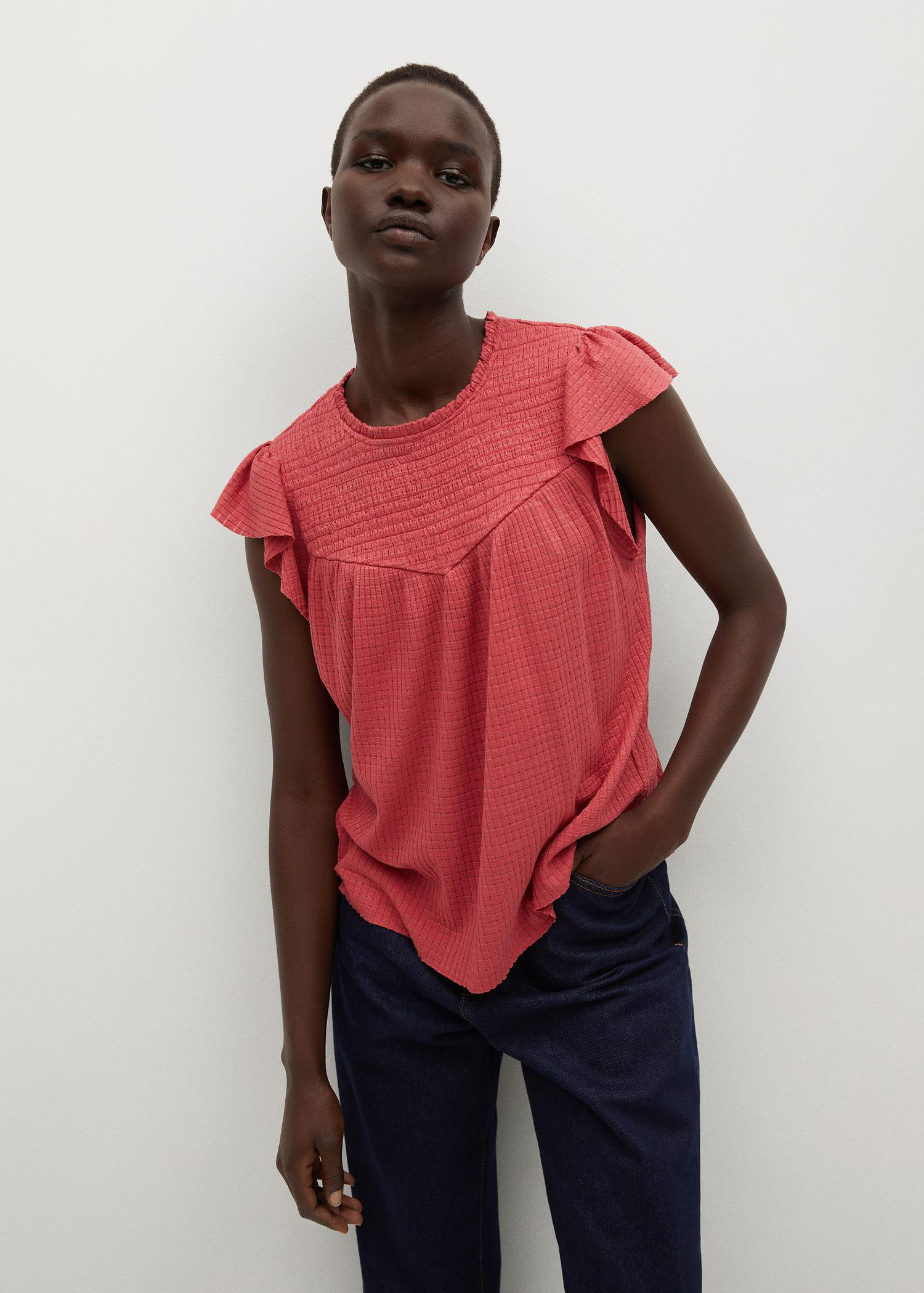 Textured t-shirt with ruffles