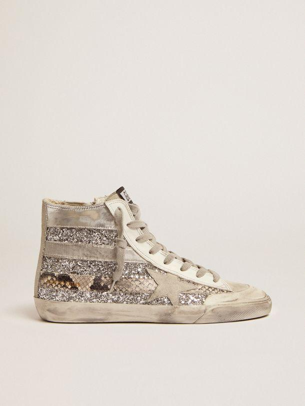 Francy Penstar LAB sneakers with glitter upper and silver and snake-print stripes