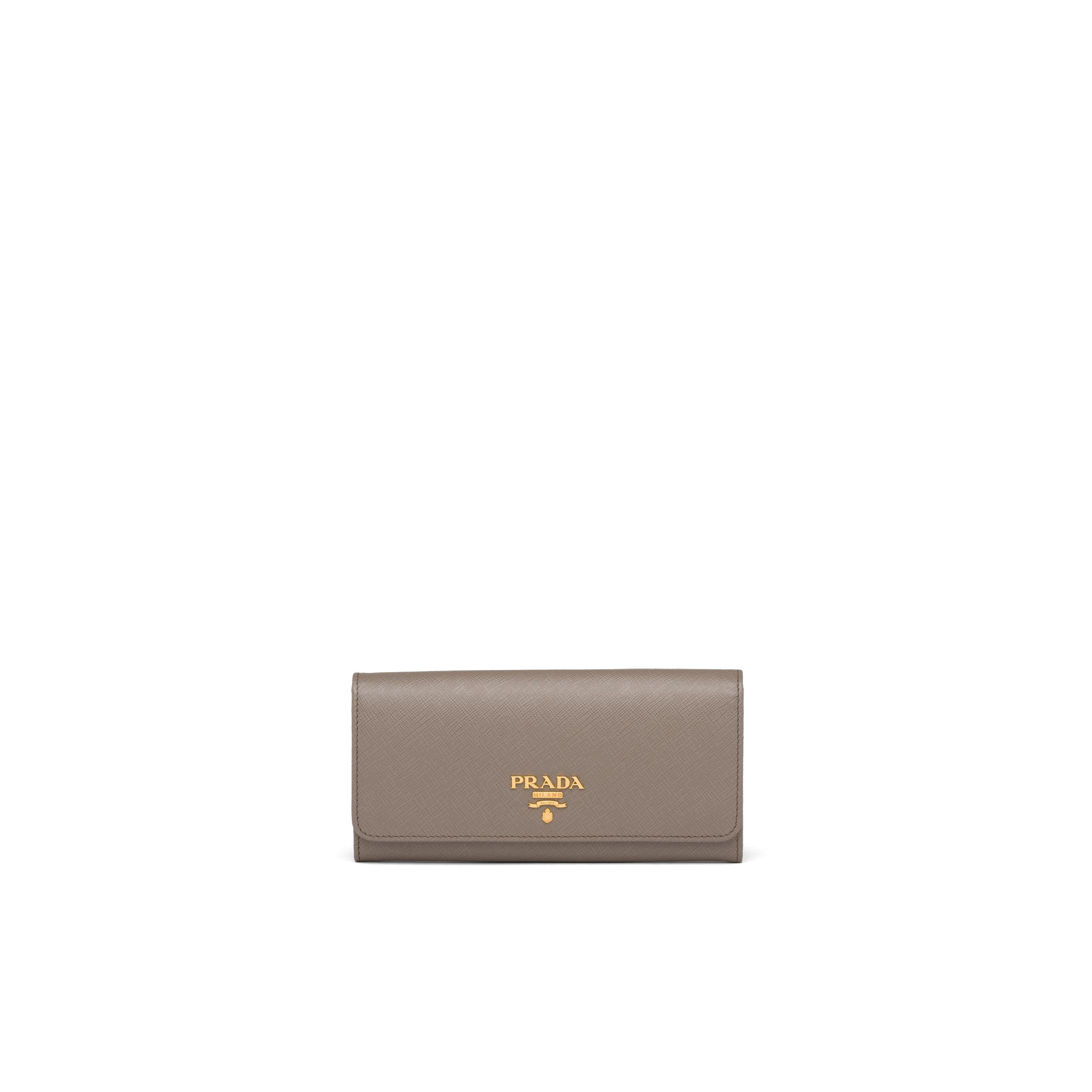 Large Saffiano Leather Wallet Women Clay Gray