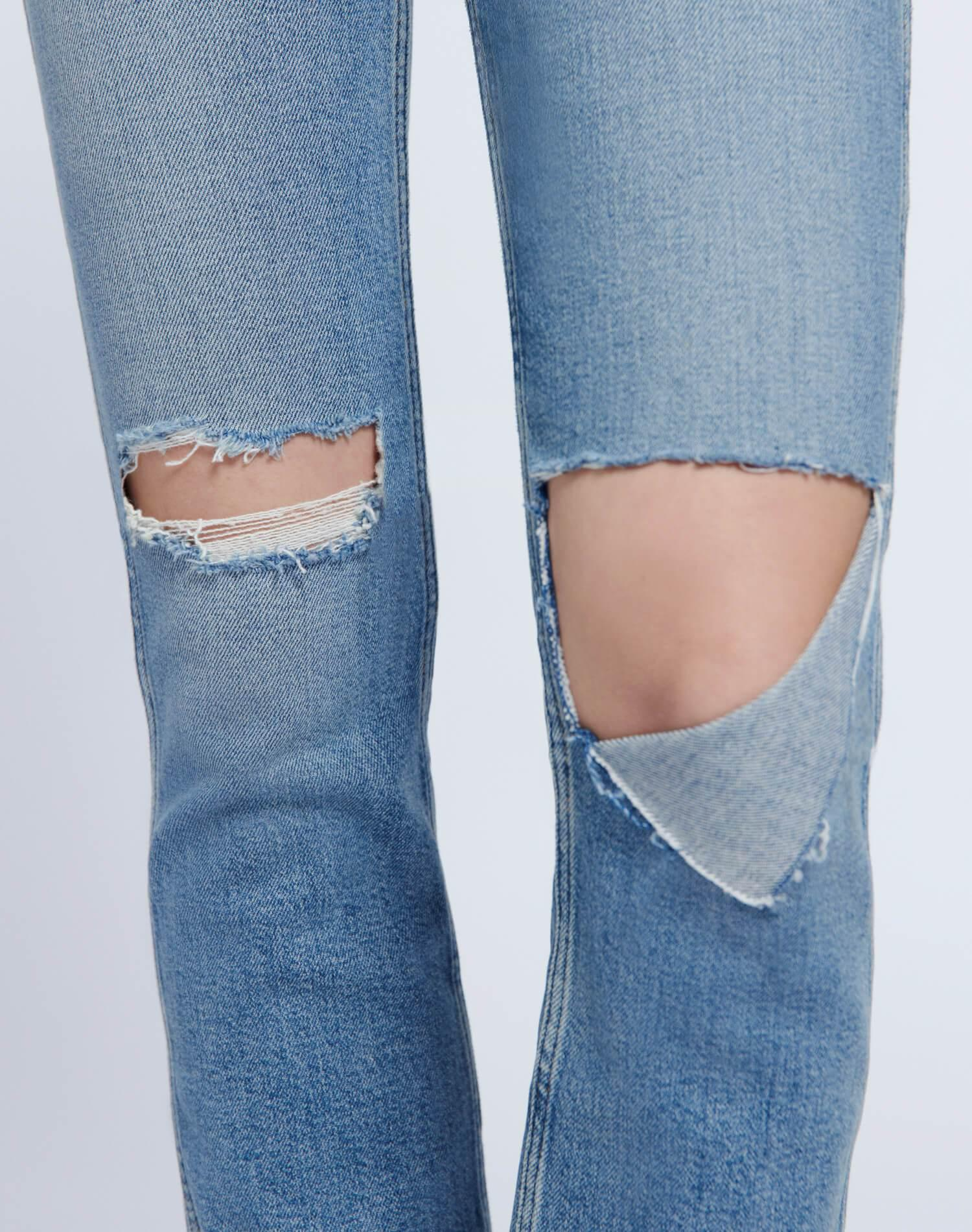 80s Comfort Stretch Slim Straight - Brisk Blue with Rips 4