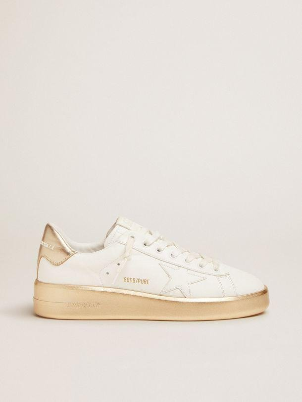 Purestar sneakers in white leather with foxing and gold laminated leather heel tab