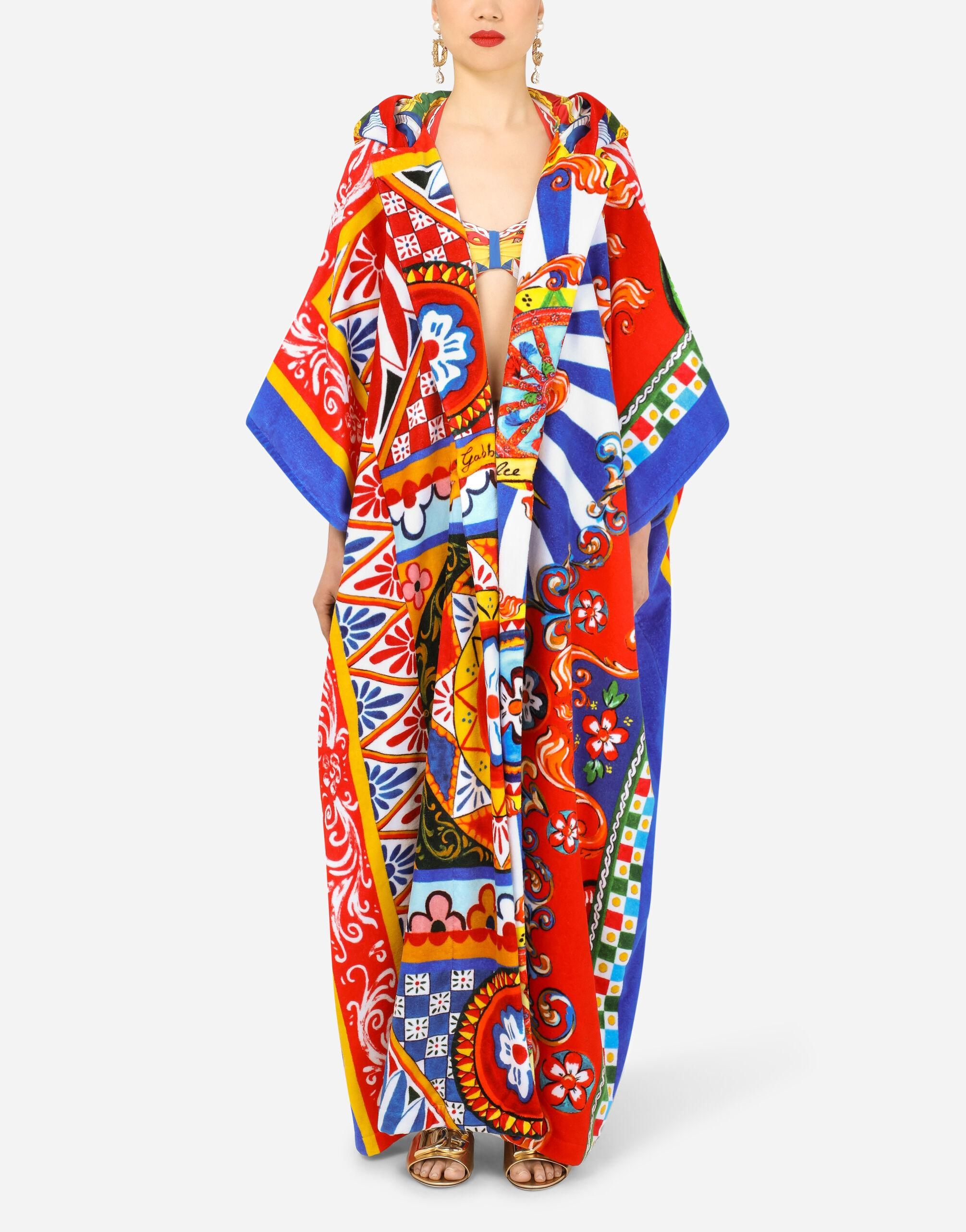 Patchwork robe with mixed carretto prints