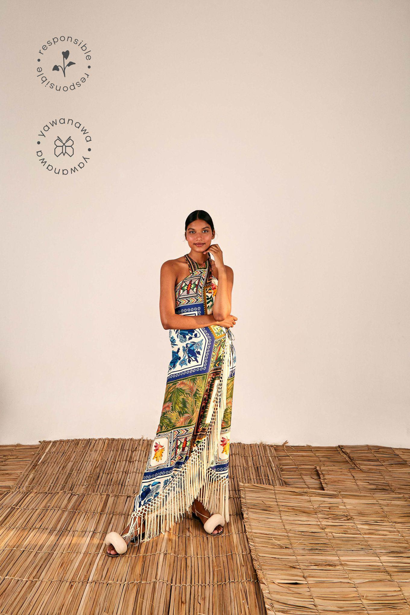 MIXED SCARVES CROSSED FRONT MAXI DRESS
