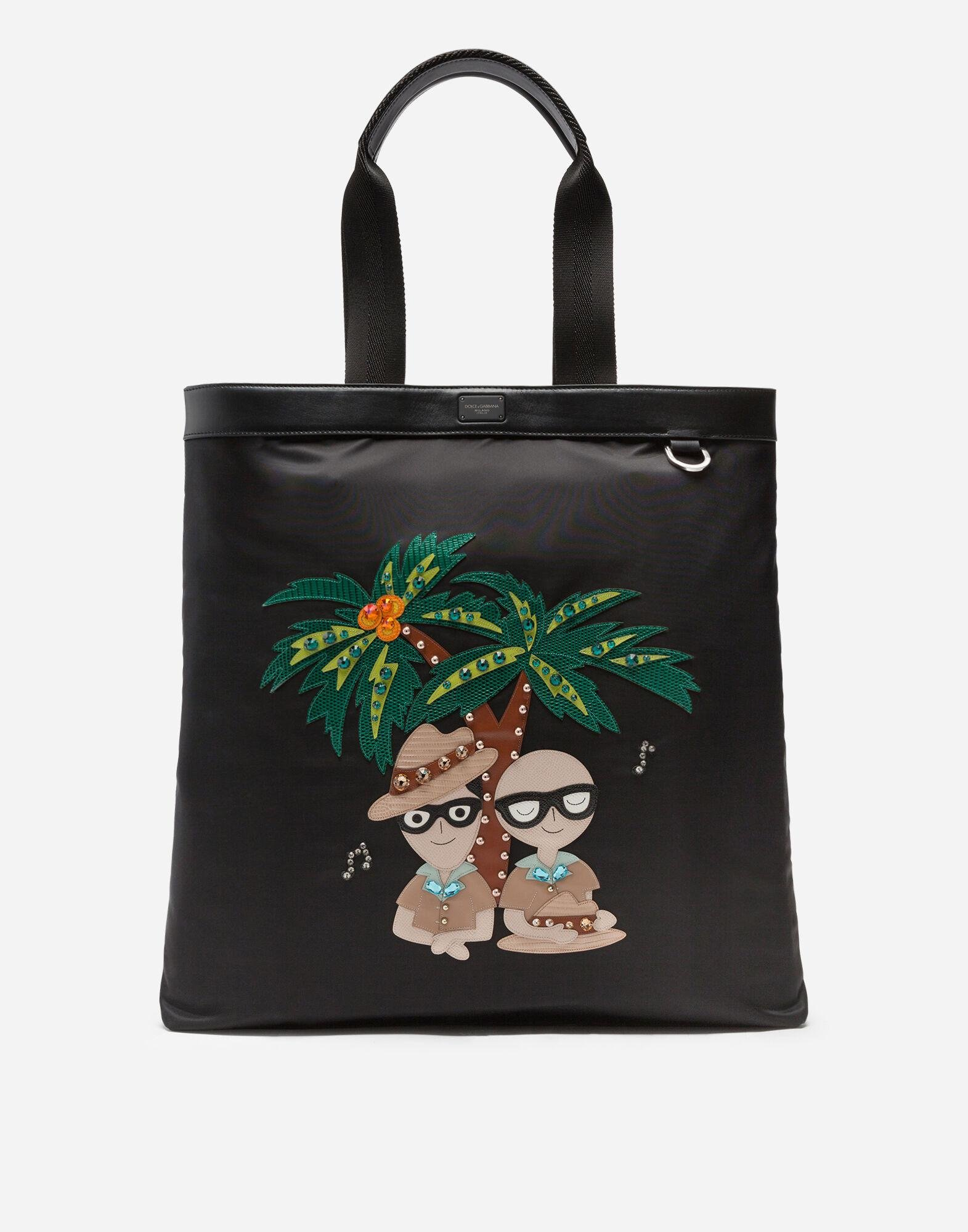 Nylon shopping bag with tropical stylist patches