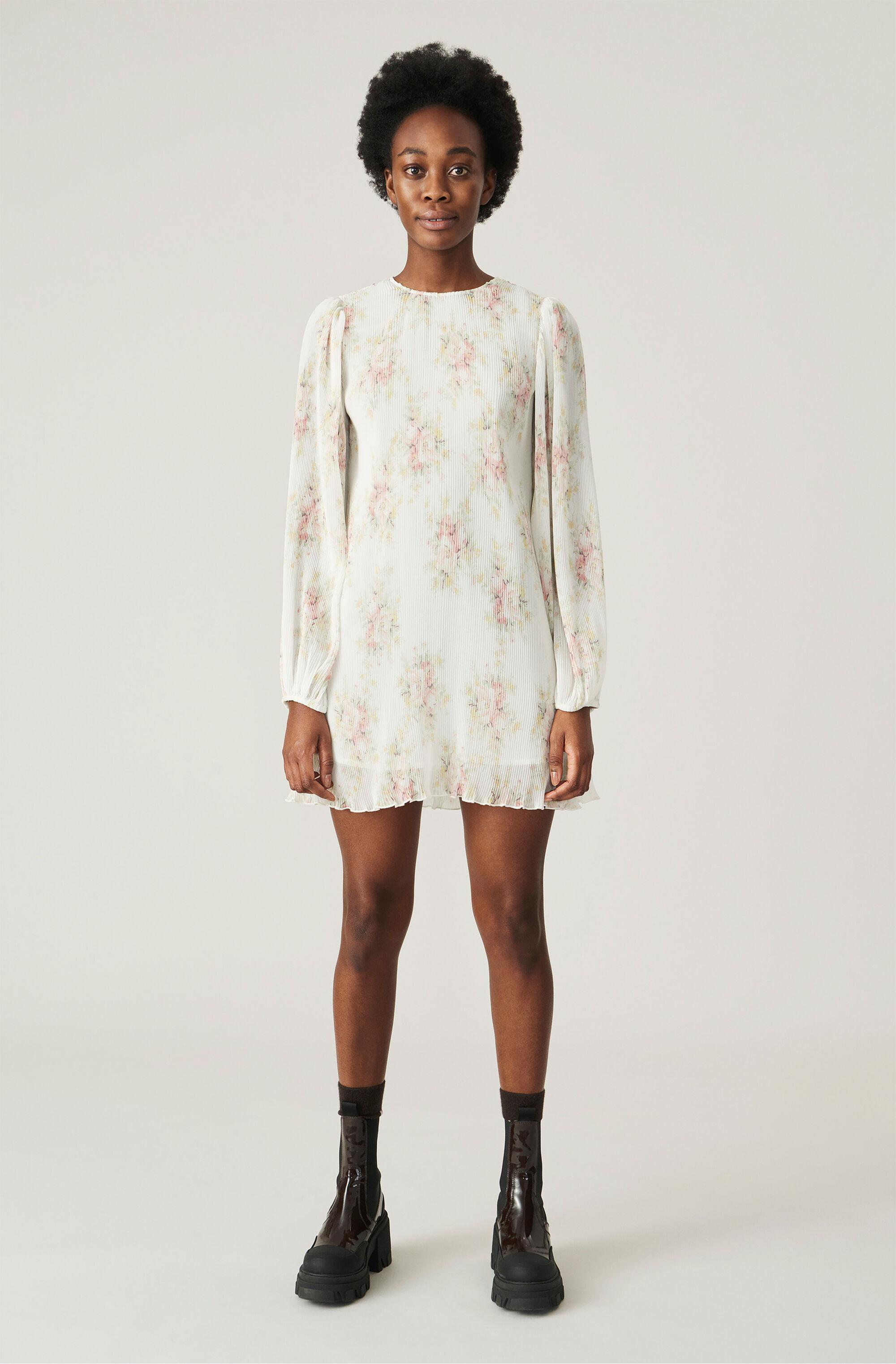 Recycled Pleated Georgette Mini Dress