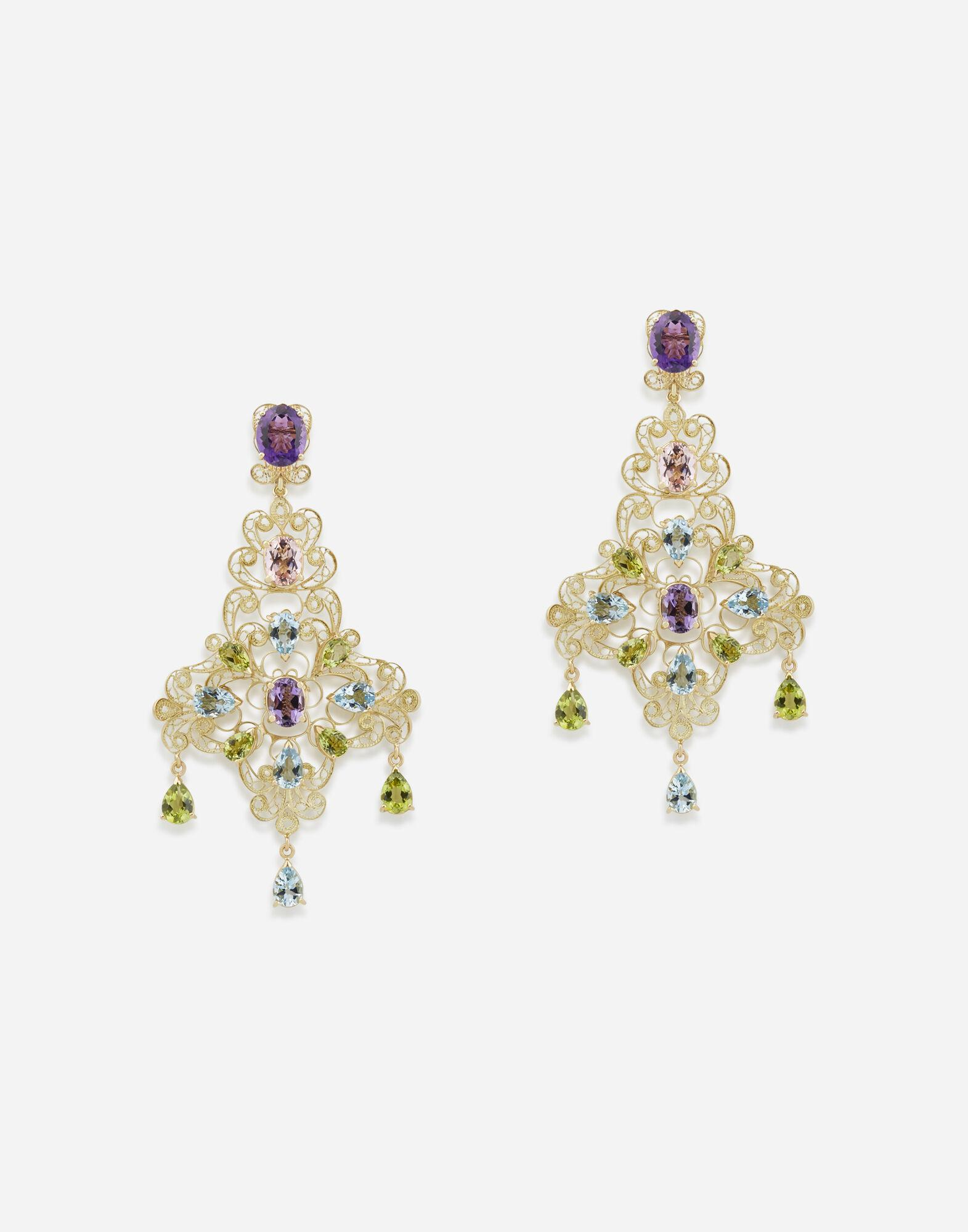 Pizzo earrings in yellow gold filigree with amethysts, aquamarines, peridots and morganites