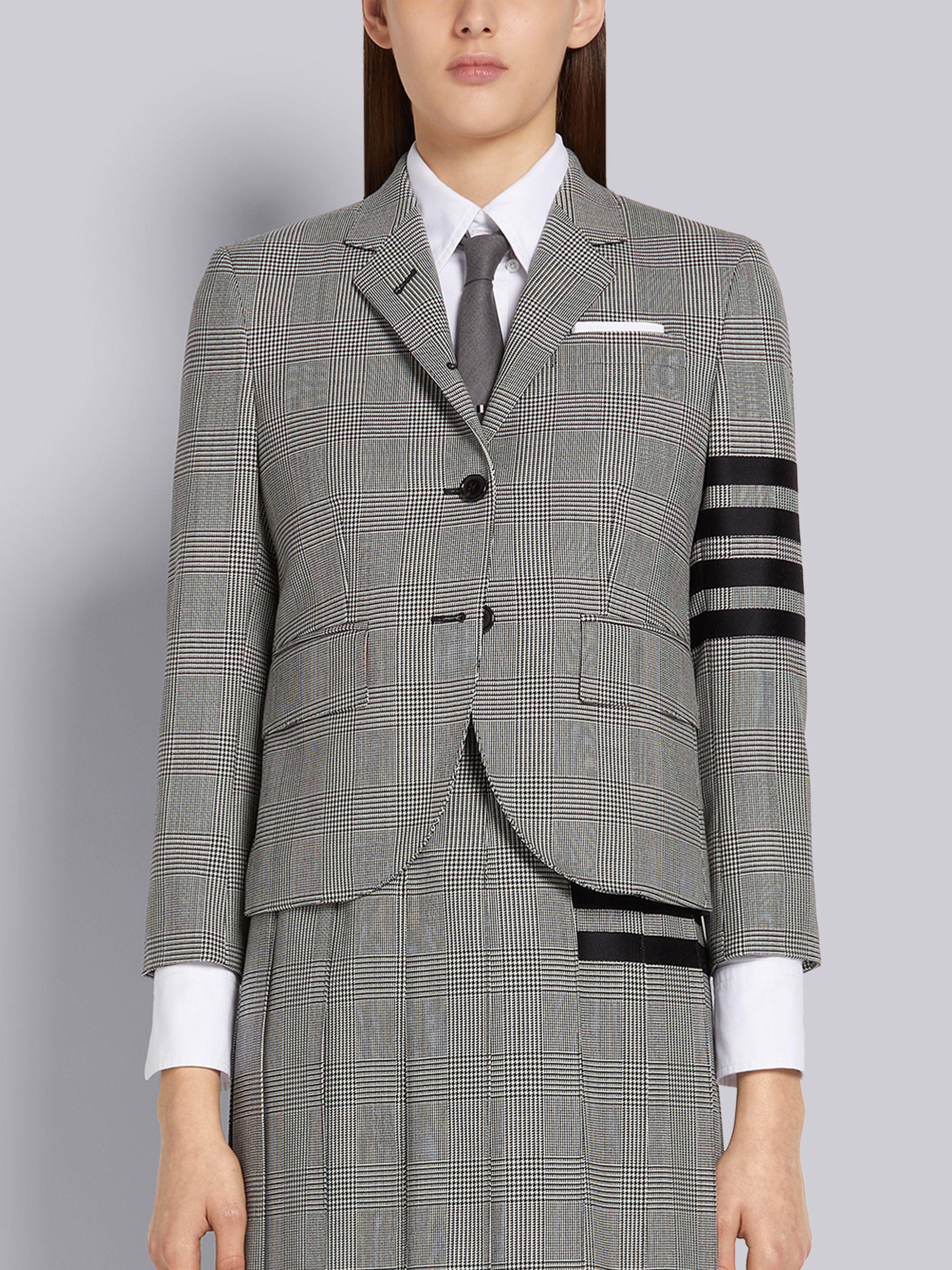 Black and White Wool Houndstooth Classic 4-Bar Jacket