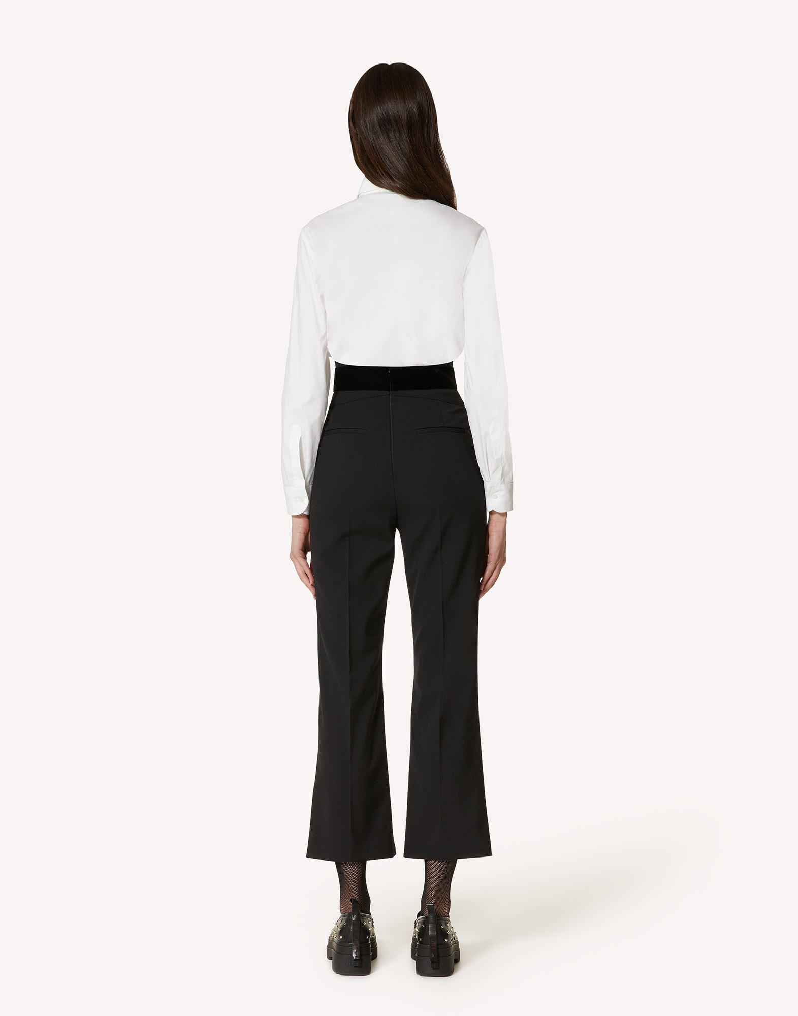 TUXEDO BOW DETAIL WOOL STRETCH REPS PANTS 1