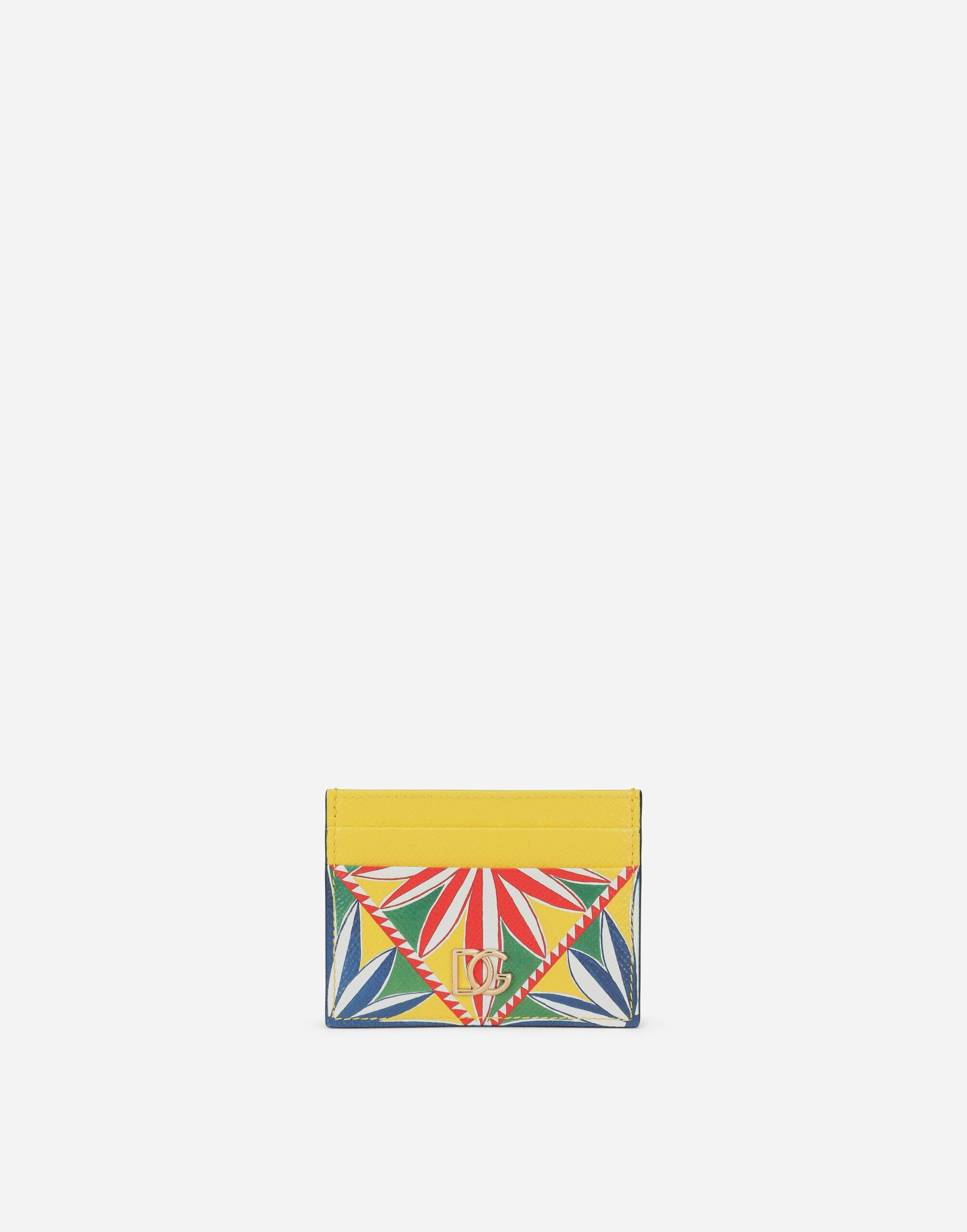 Dauphine calfskin card holder with Carretto print