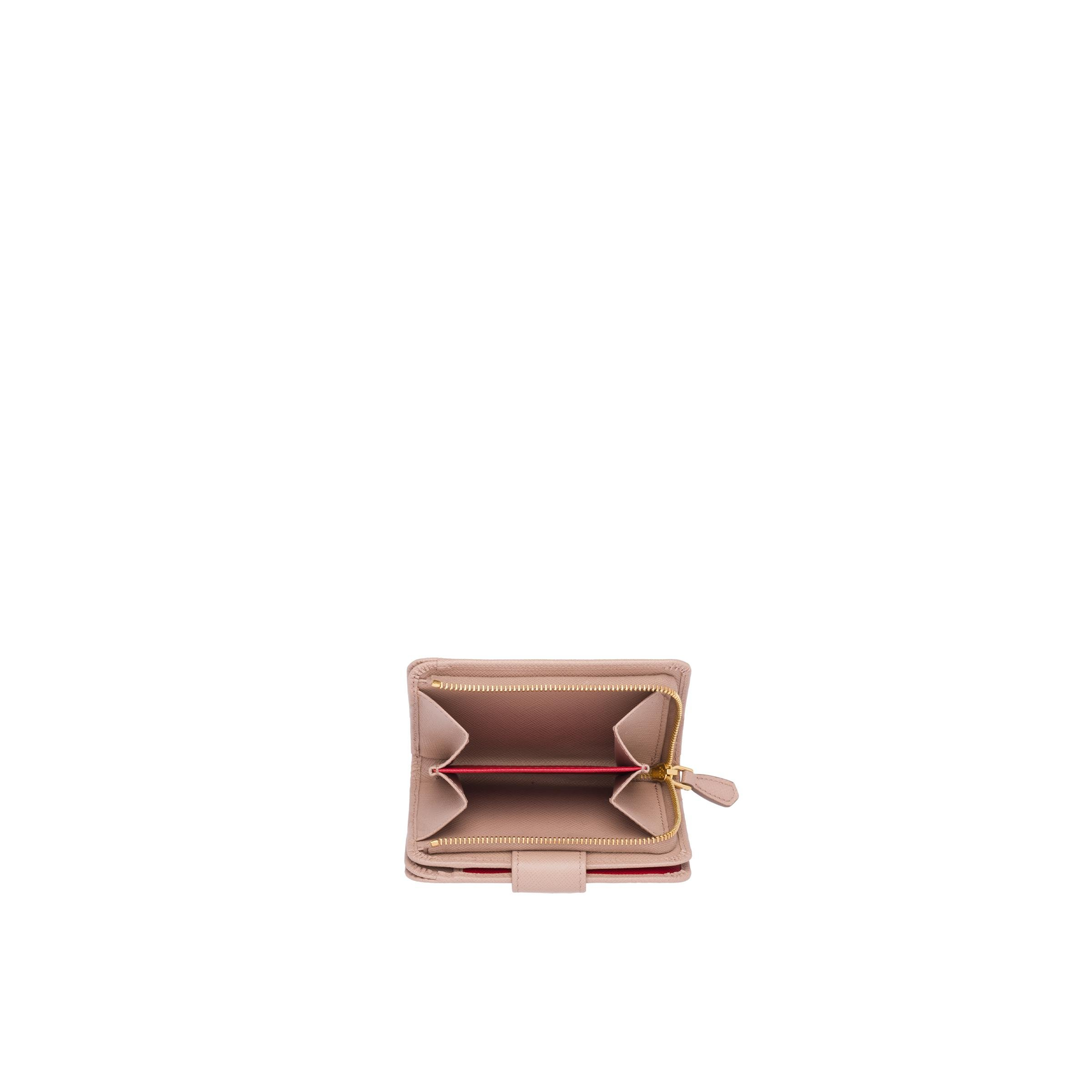 Small Saffiano Leather Wallet Women Powder Pink/fiery Red 1