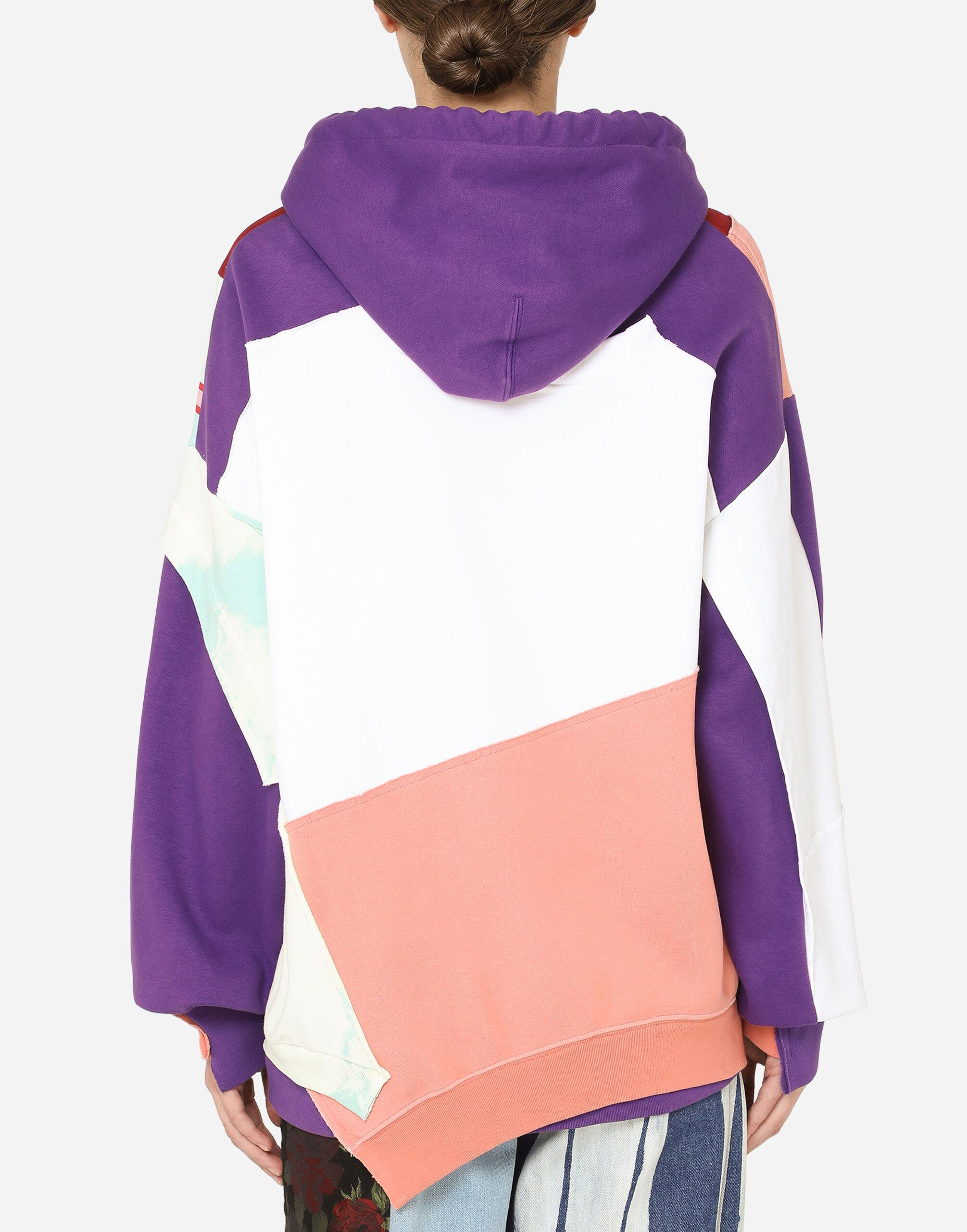 Patchwork jersey hoodie with chill & love DG print 1