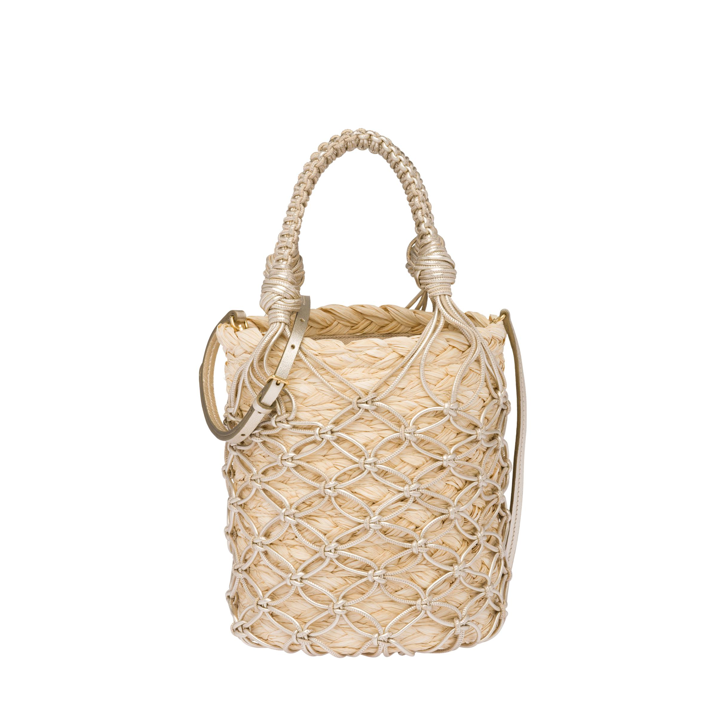 Leather Mesh And Straw Bucket Bag Women Tan/pyrite