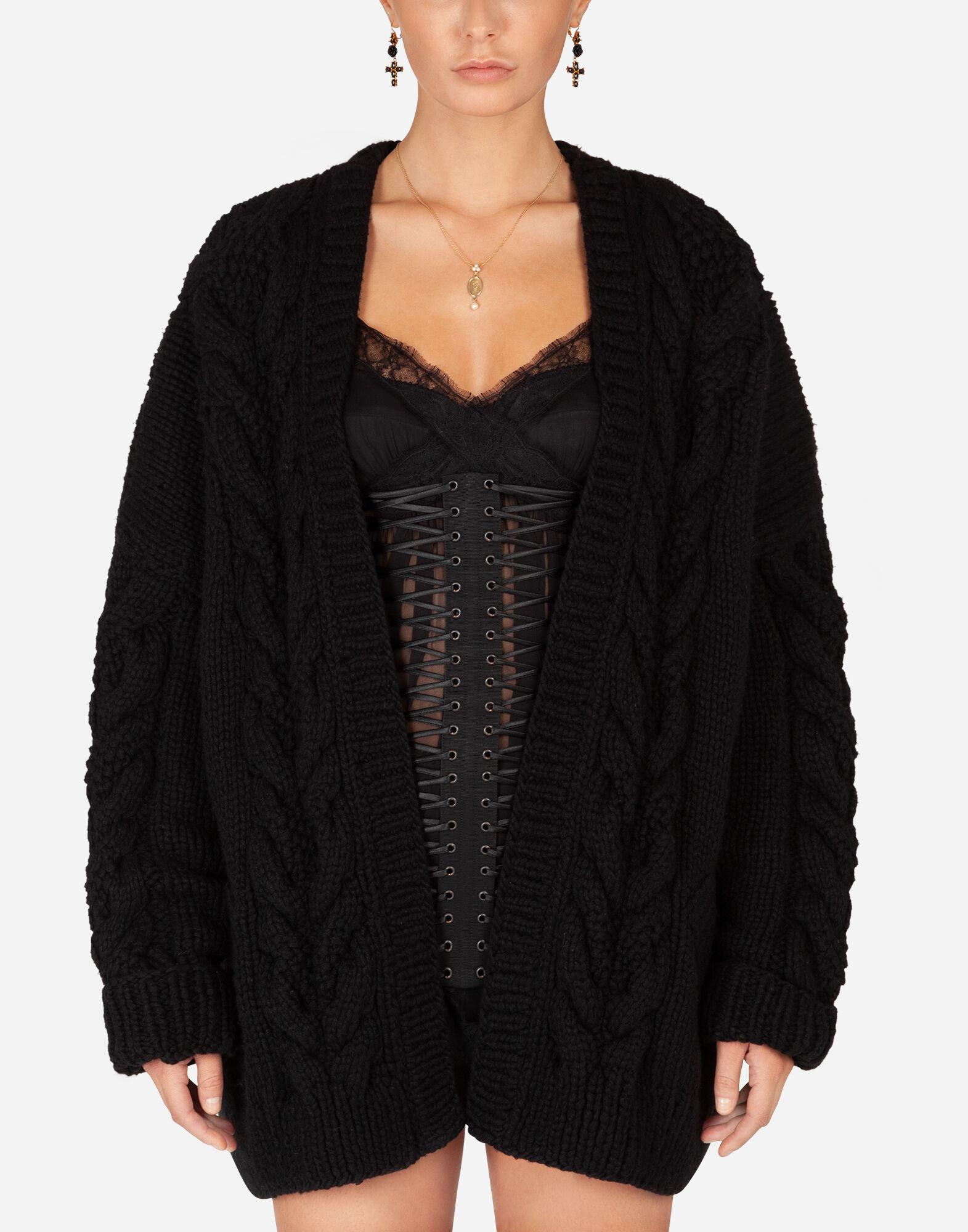 Long-sleeved wool and cashmere cardigan