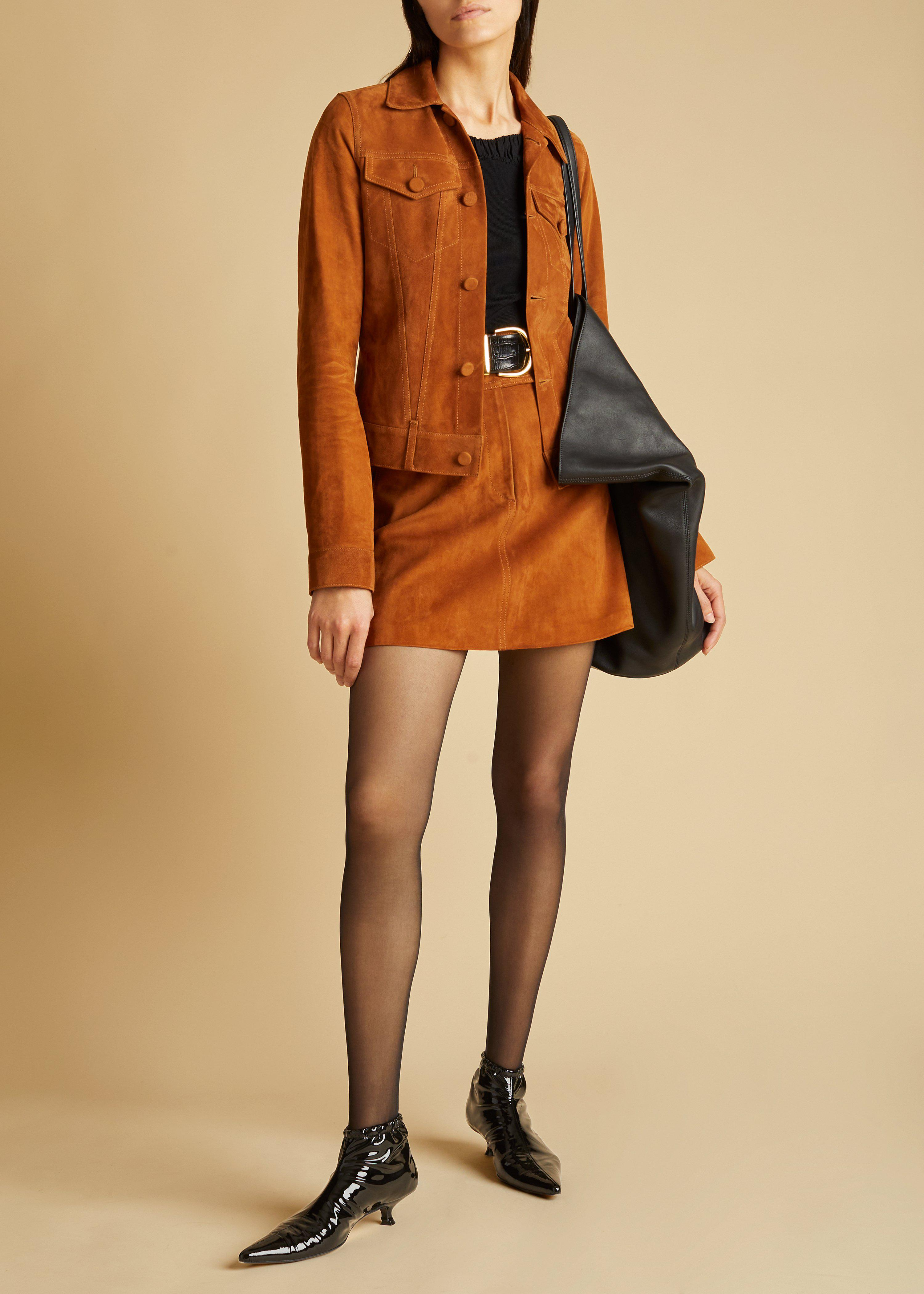 The Giulia Skirt in Chestnut Suede