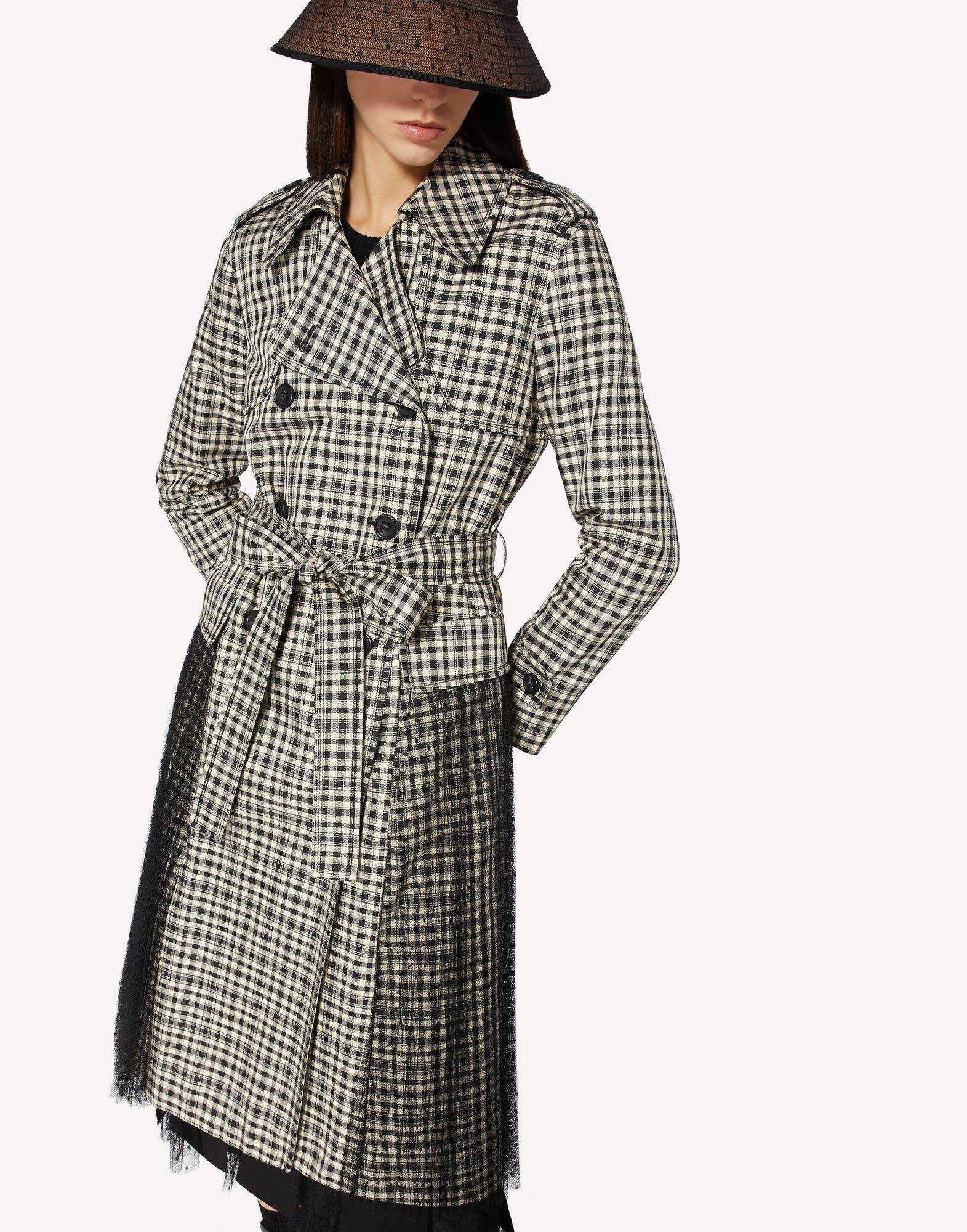 VICHY CHECK TRENCH COAT WITH PLEATING DETAIL 3