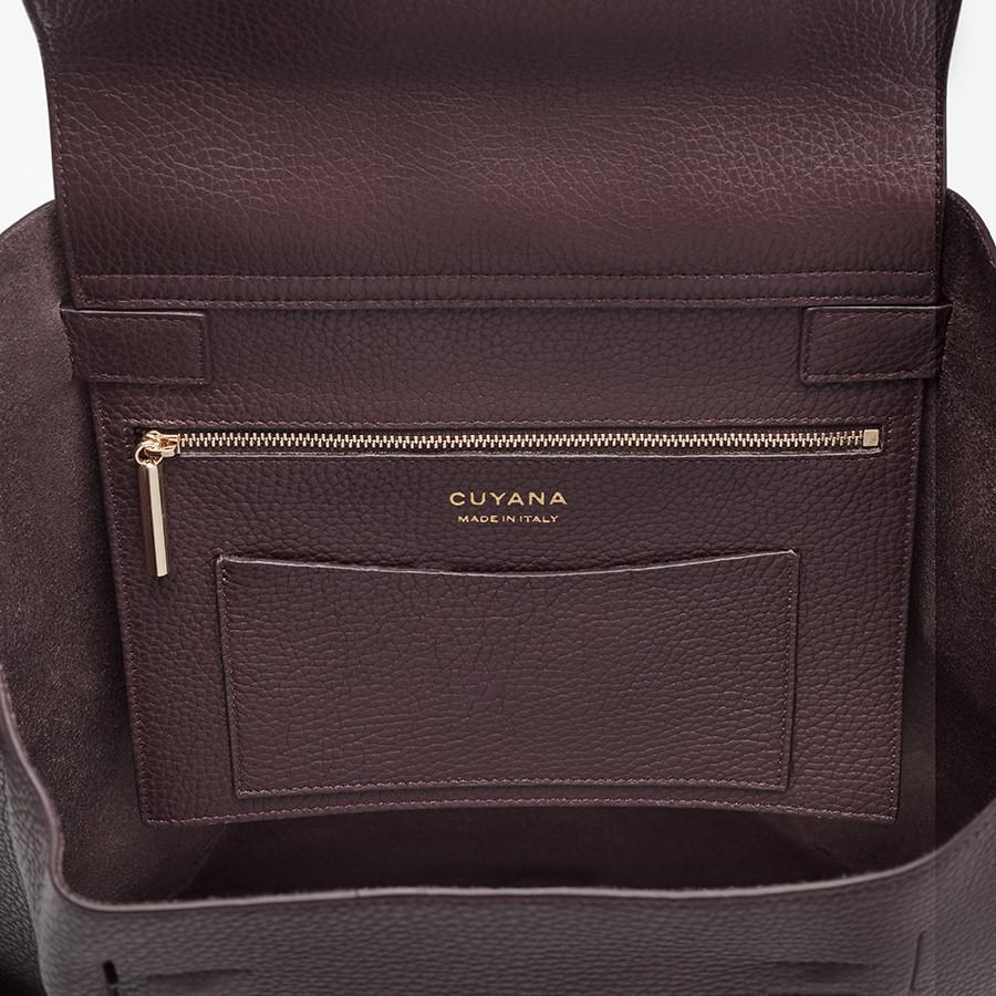 Women's Leather Backpack in Burgundy   Pebbled Leather by Cuyana 3
