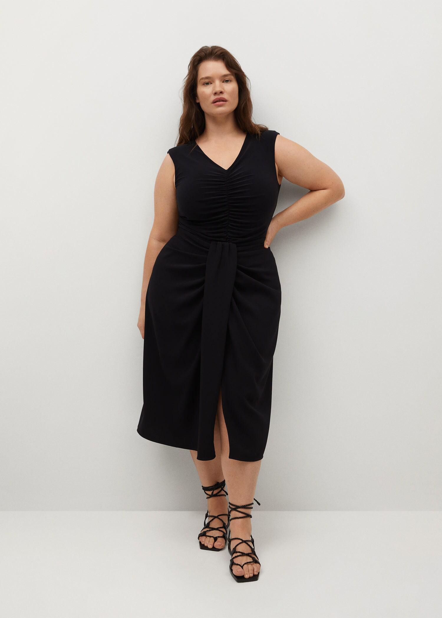 Recycled polyester gathered skirt