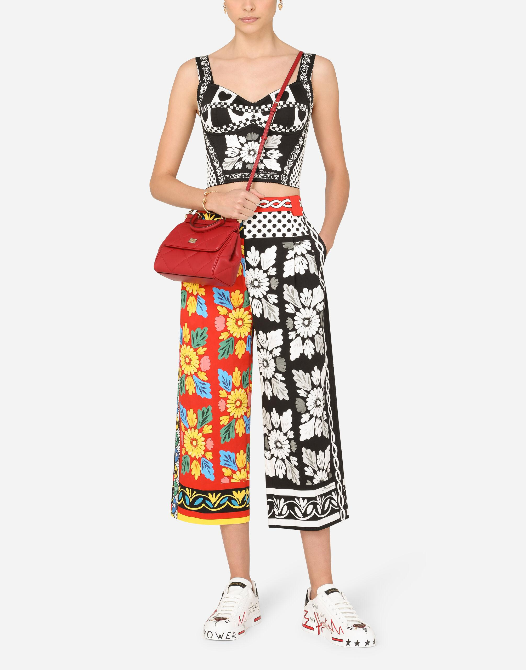 Patchwork-print drill bustier top 4