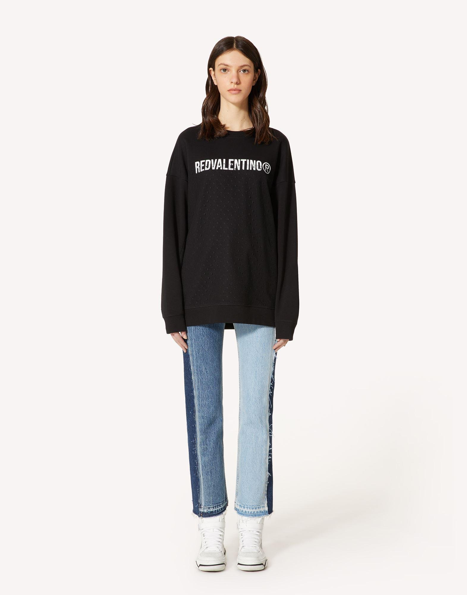 SWEATSHIRT WITH REDVALENTINO R PRINT AND POINT D'ESPRIT TULLE