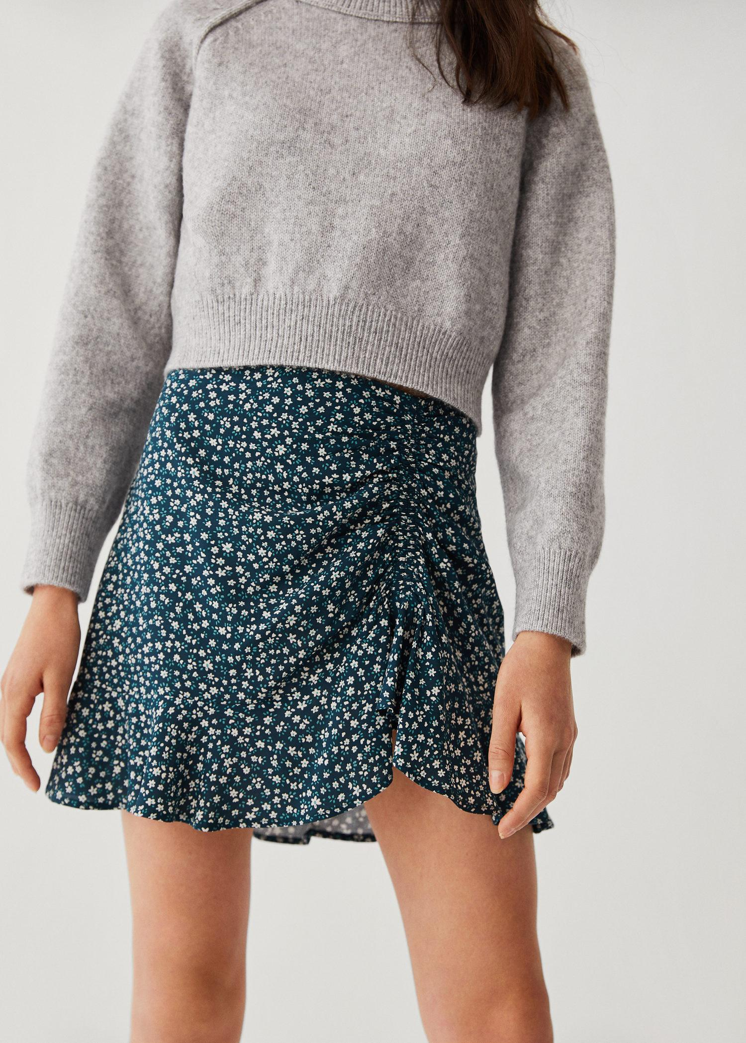 Printed skirt with bow