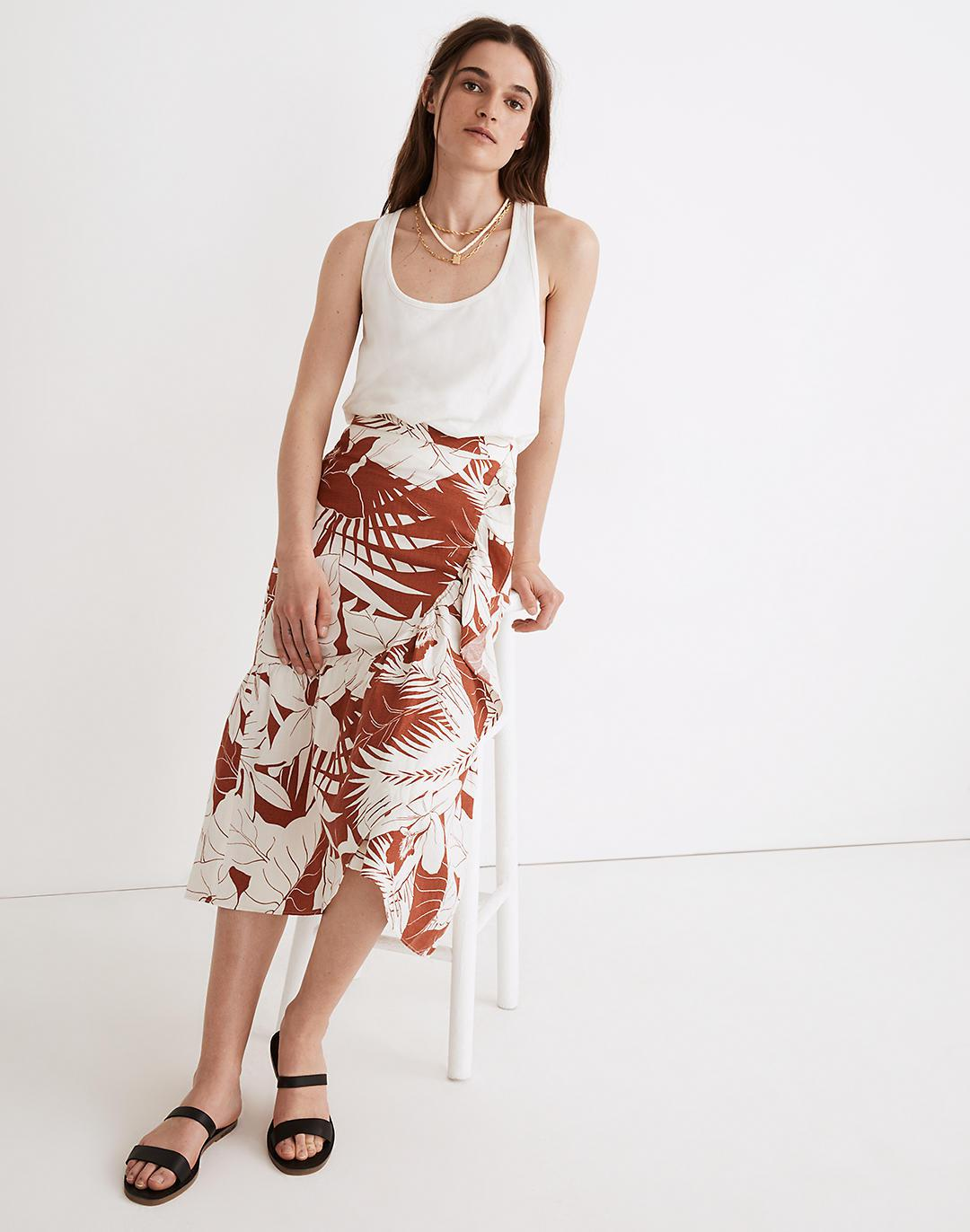 Linen-Blend Ruffle-Wrap Midi Skirt in Tropical Vacation