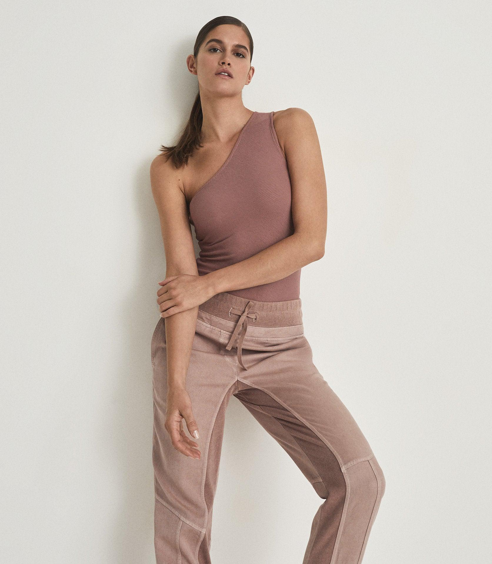 POLINA - ONE SHOULDER RIBBED JERSEY TOP 3