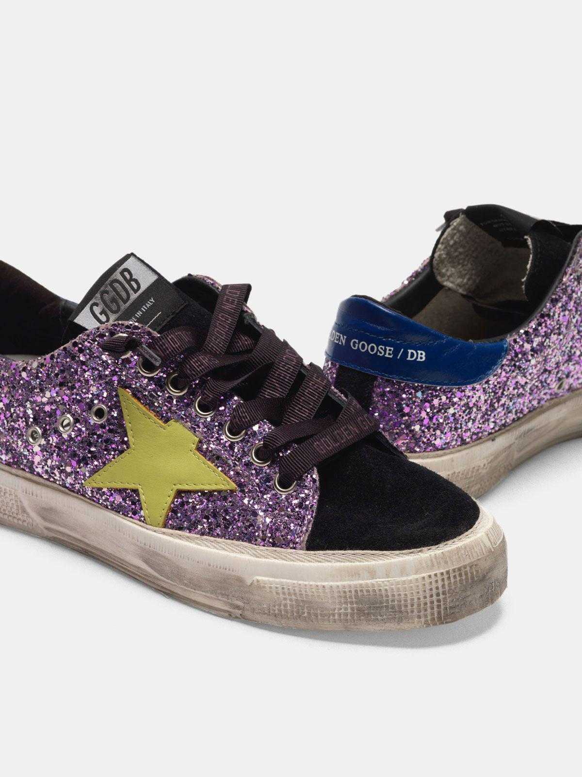 May sneakers in glitter and suede leather 3