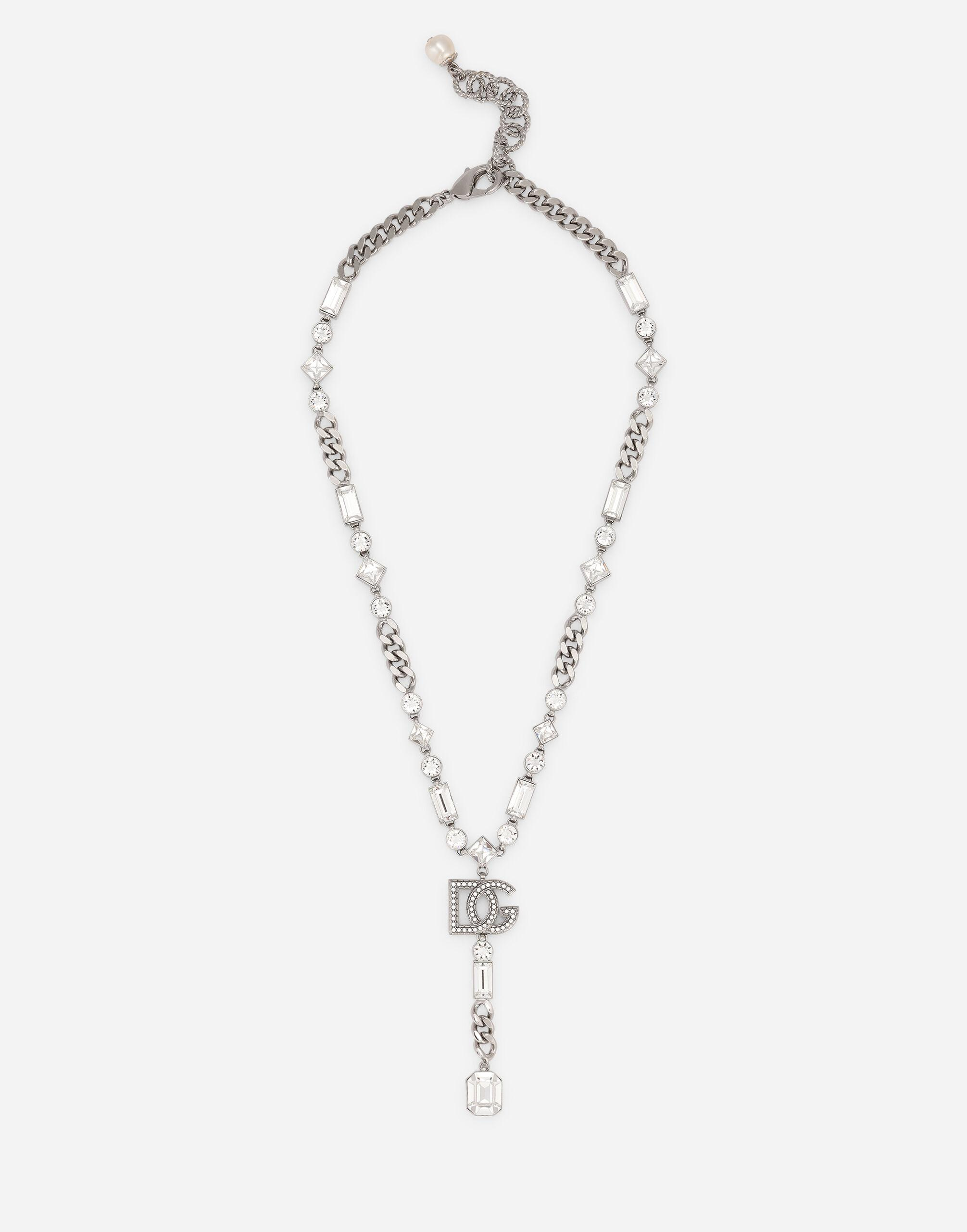 Link necklace with DG logo and rhinestone-detailed pendant