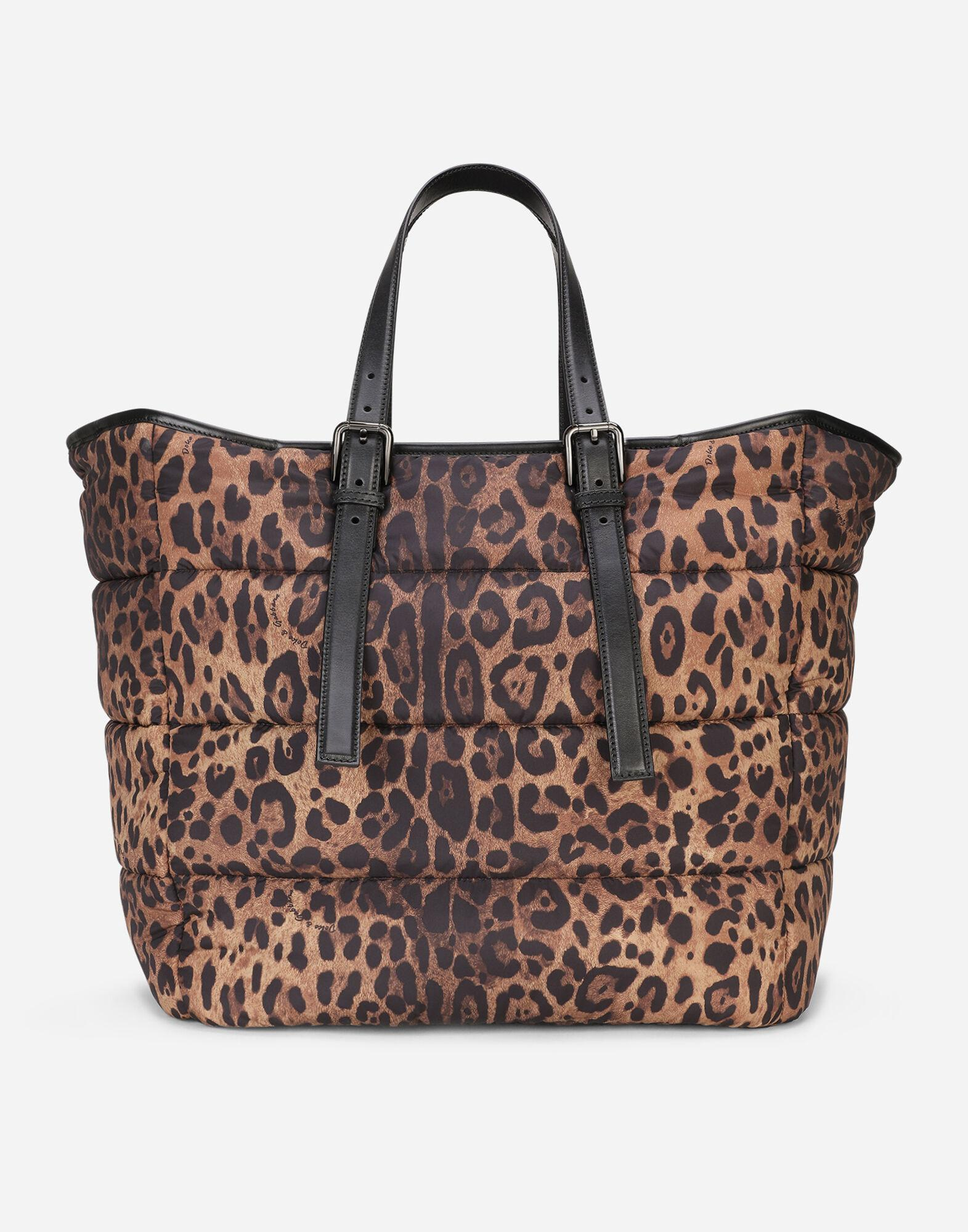 Leopard-print Sicily shopper in quilted nylon 2