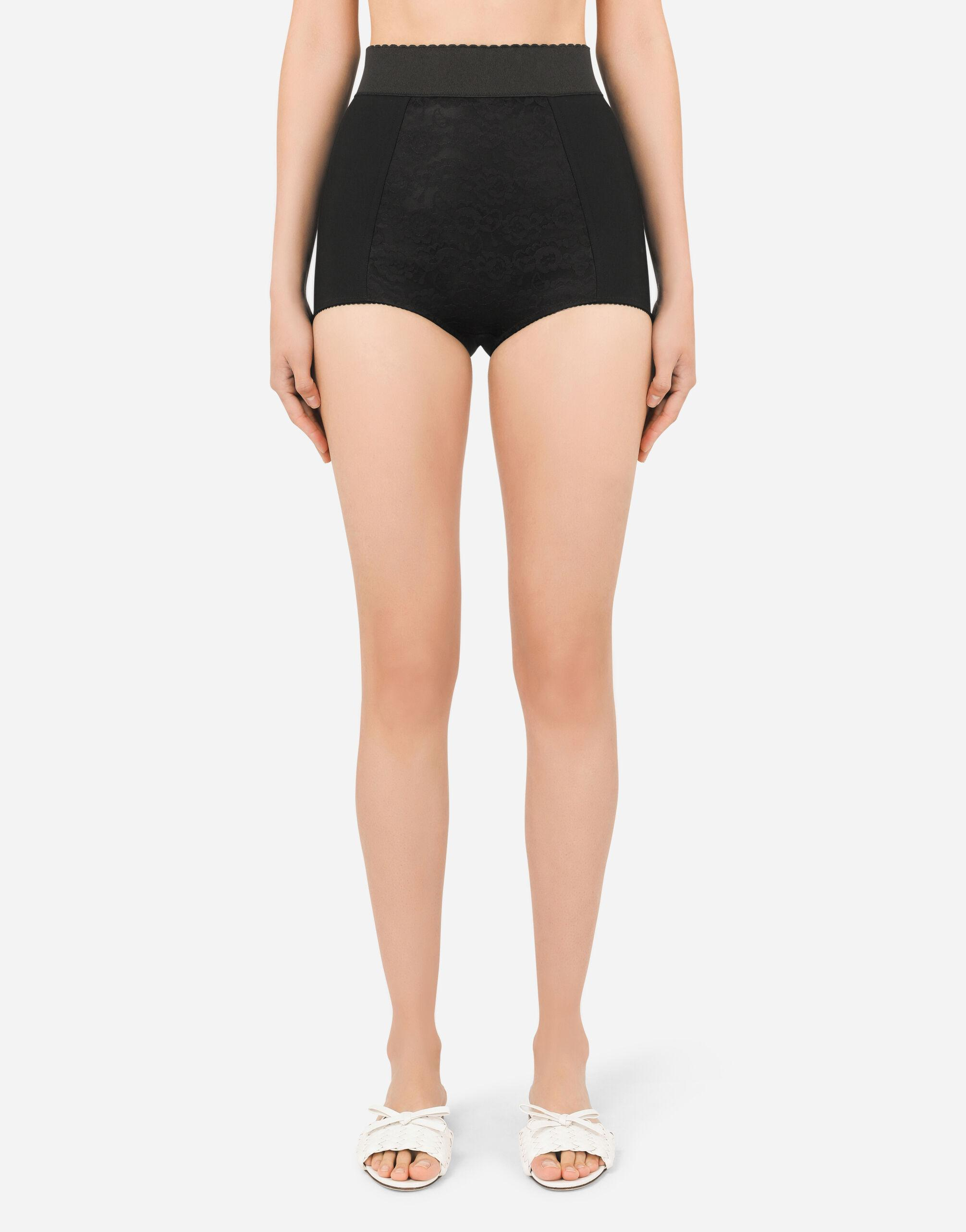 High-waisted shaper panties in jacquard and satin