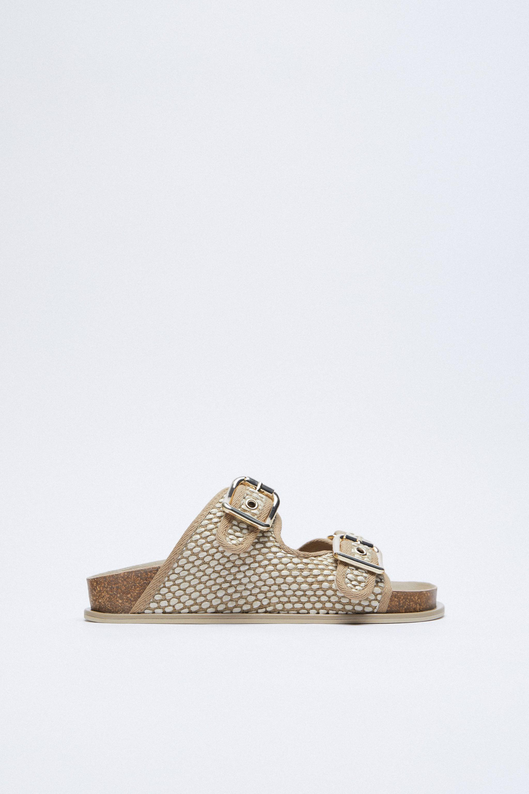 BUCKLED FABRIC FLAT SANDALS