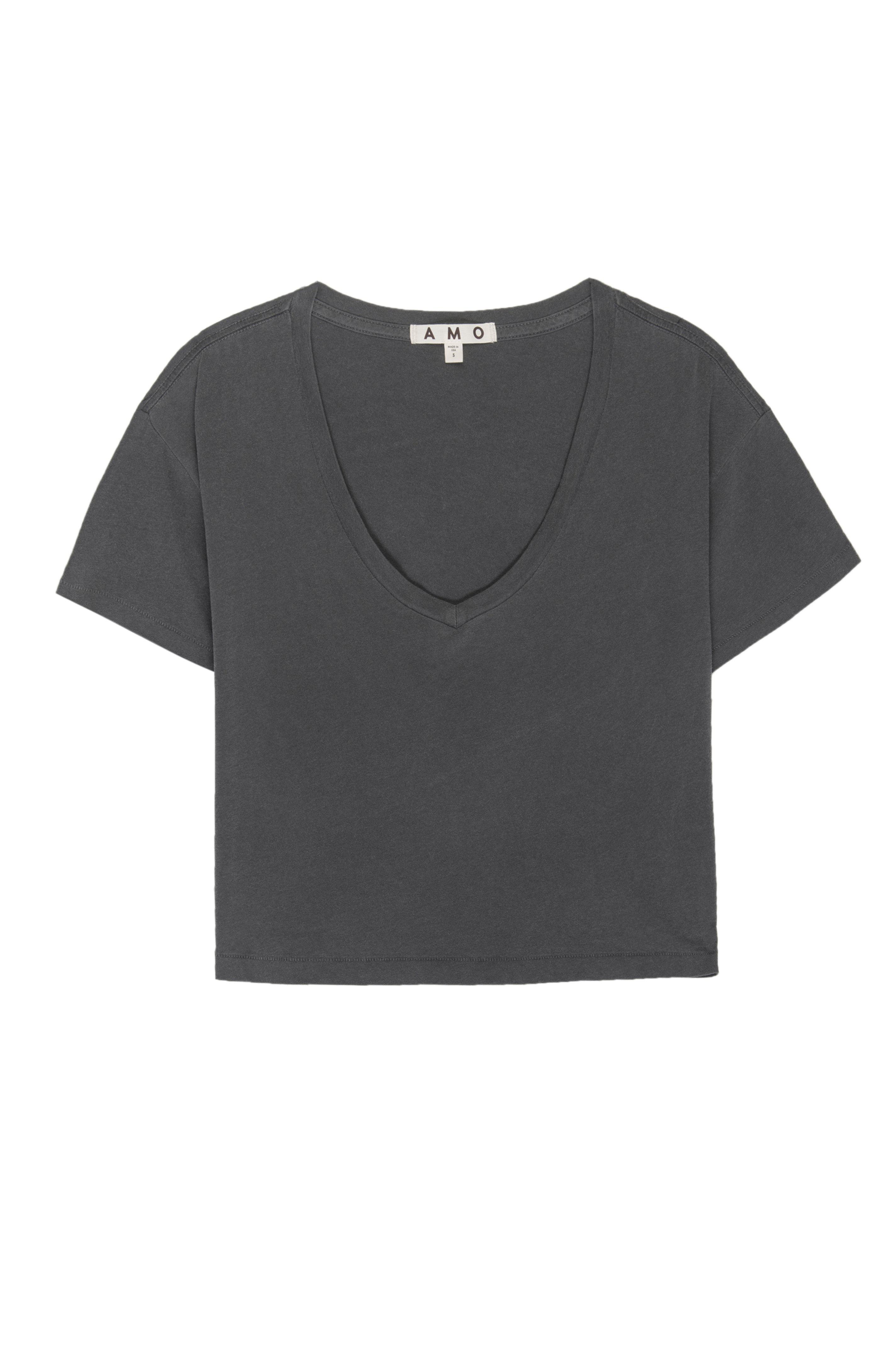 CROPPED V NECK TEE FADED BLACK