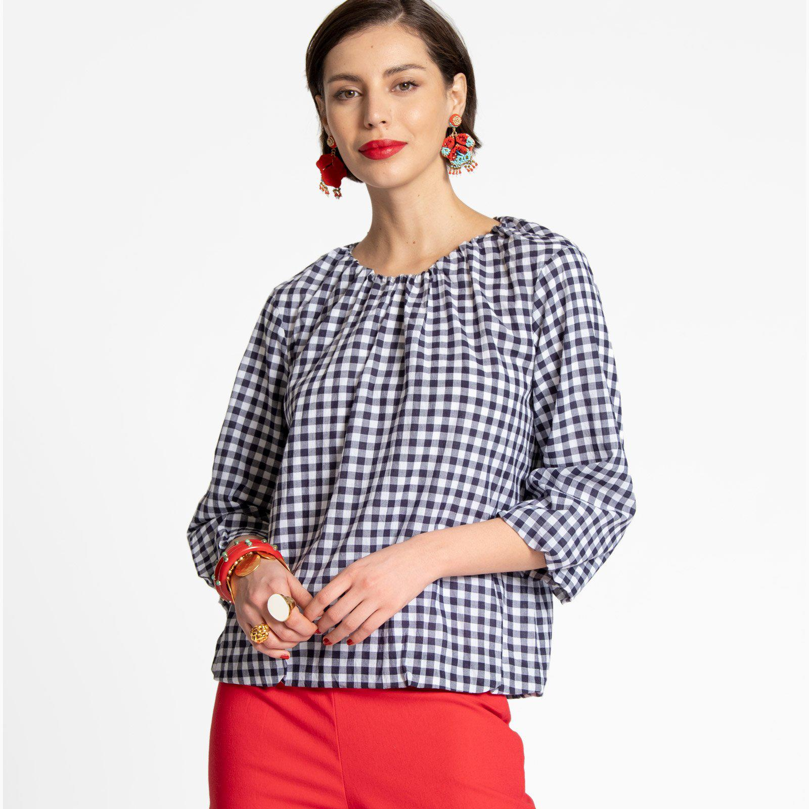 Emily Ruched Top Navy Gingham