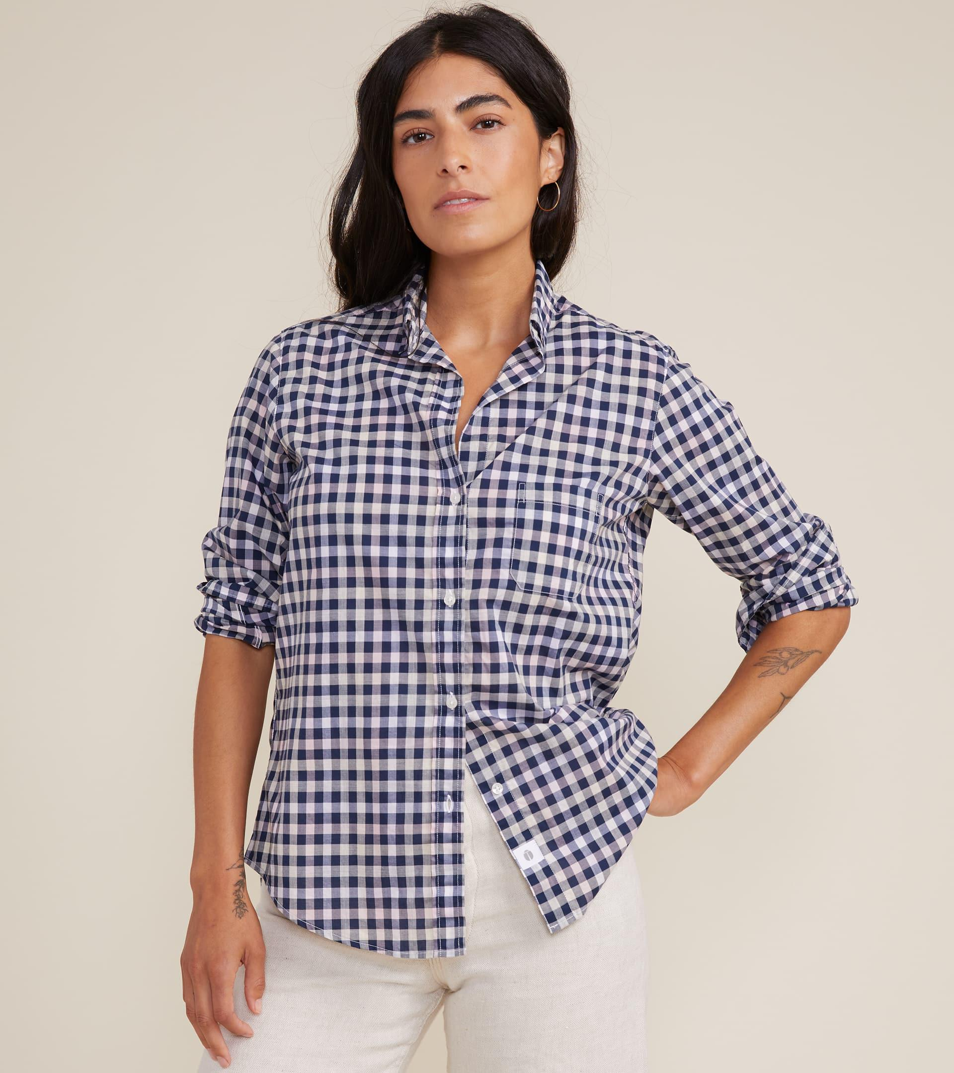 The Hero Button-Up Shirt in Multi Check, Cool Cotton Final Sale