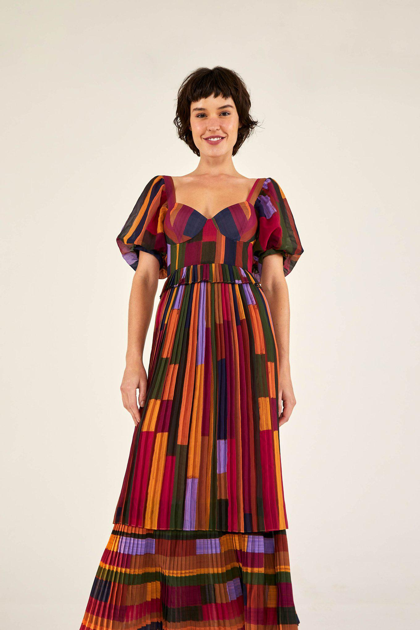 YELLOW PAINTED STRIPES PLEATED DRESS