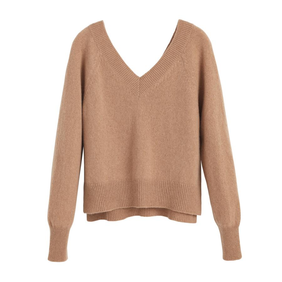 Women's Recycled Deep V-Neck Sweater in Camel | Size: