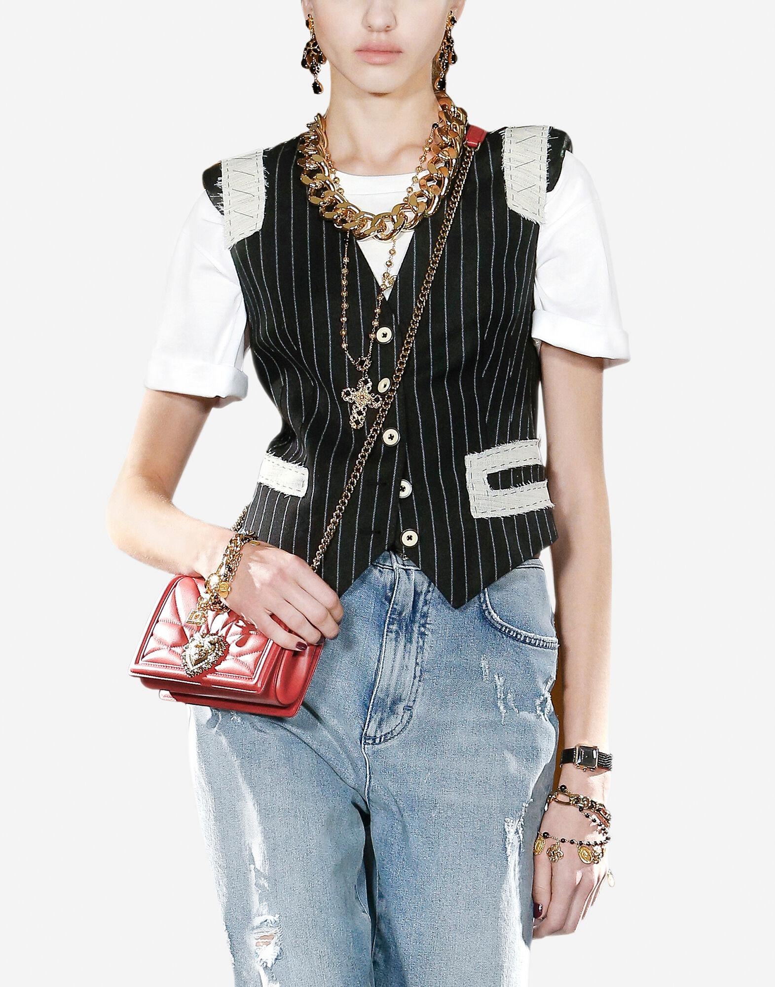 Pinstripe stretch wool and jacquard vest