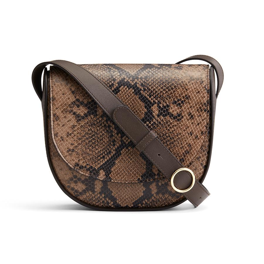 Women's Modern Saddle Bag in Brown Snake | Snake-Embossed & Smooth Leather by Cuyana