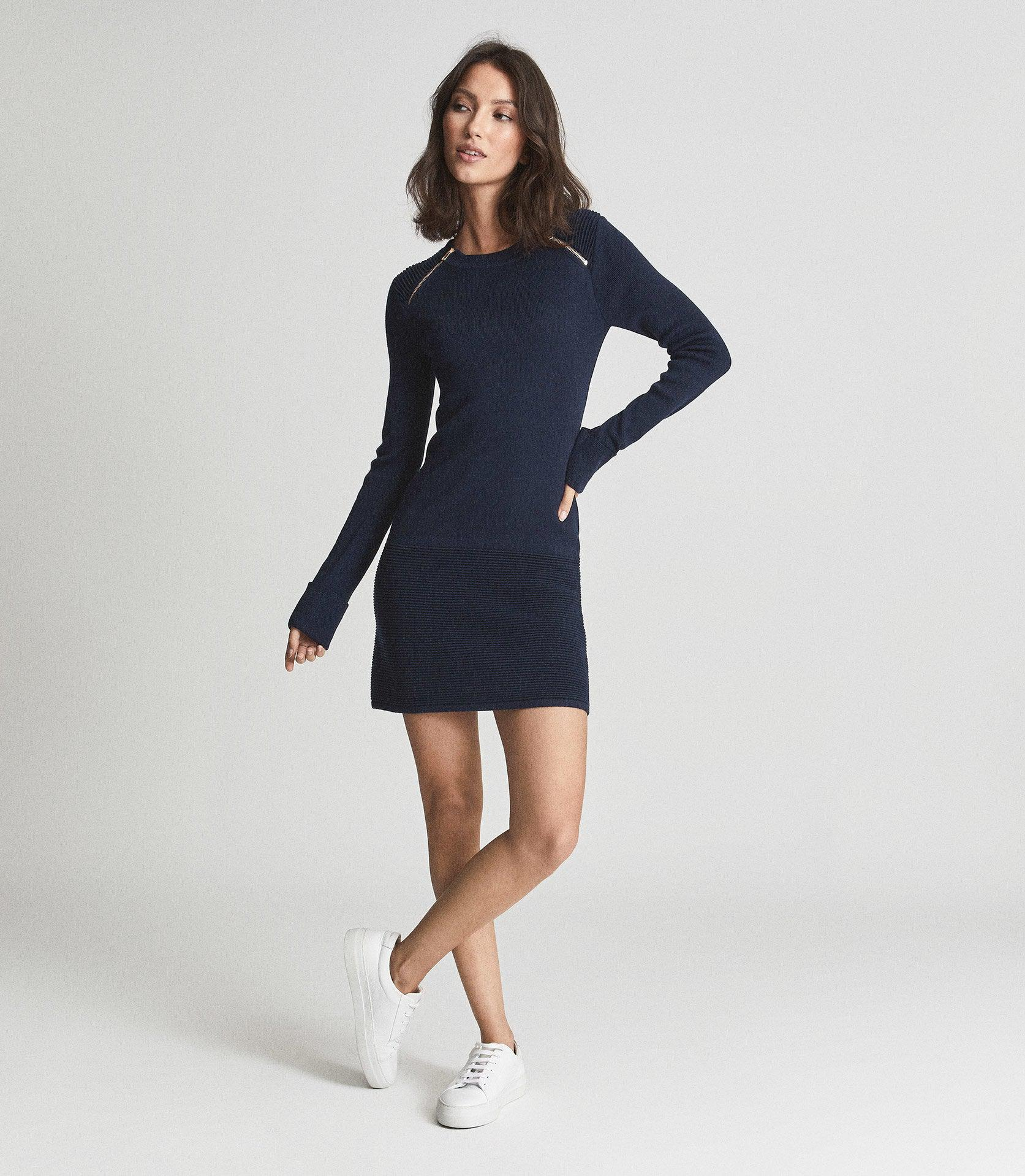 HAYDEN - KNITTED BODYCON DRESS WITH ZIP DETAIL