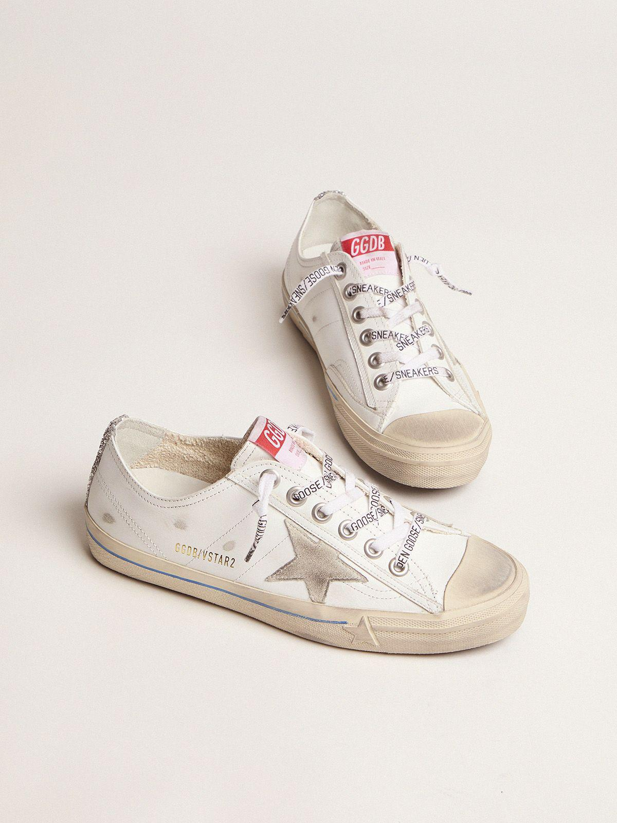 White leather V-Star sneakers with glittery vertical strip 1