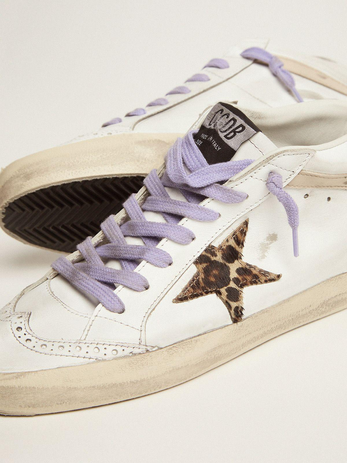 Mid Star sneakers with leopard-print pony skin star and light orange suede heel tab 2